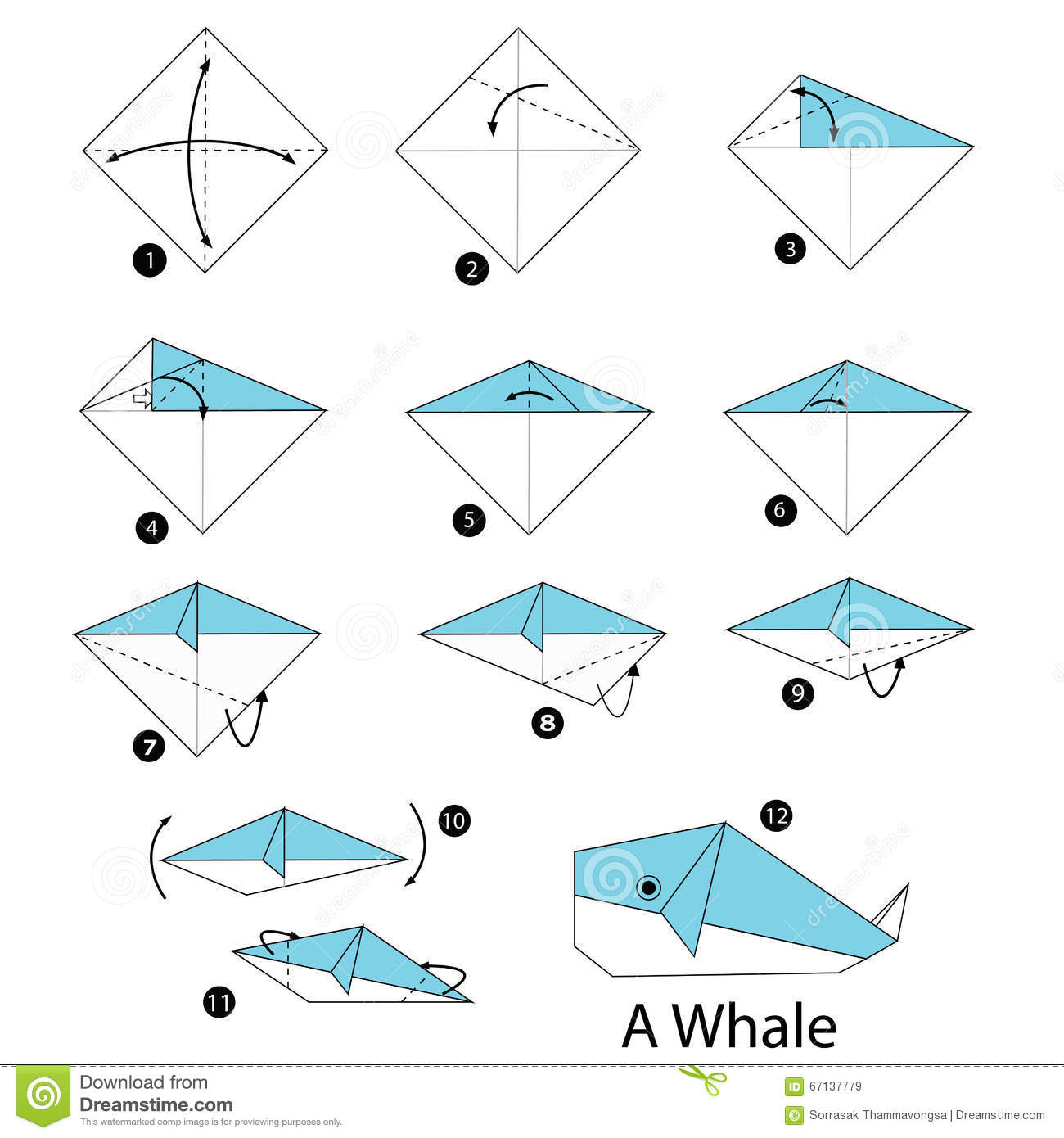 Step by step instructions how to make origami whale stock vector step by step instructions how to make origami whale jeuxipadfo Gallery