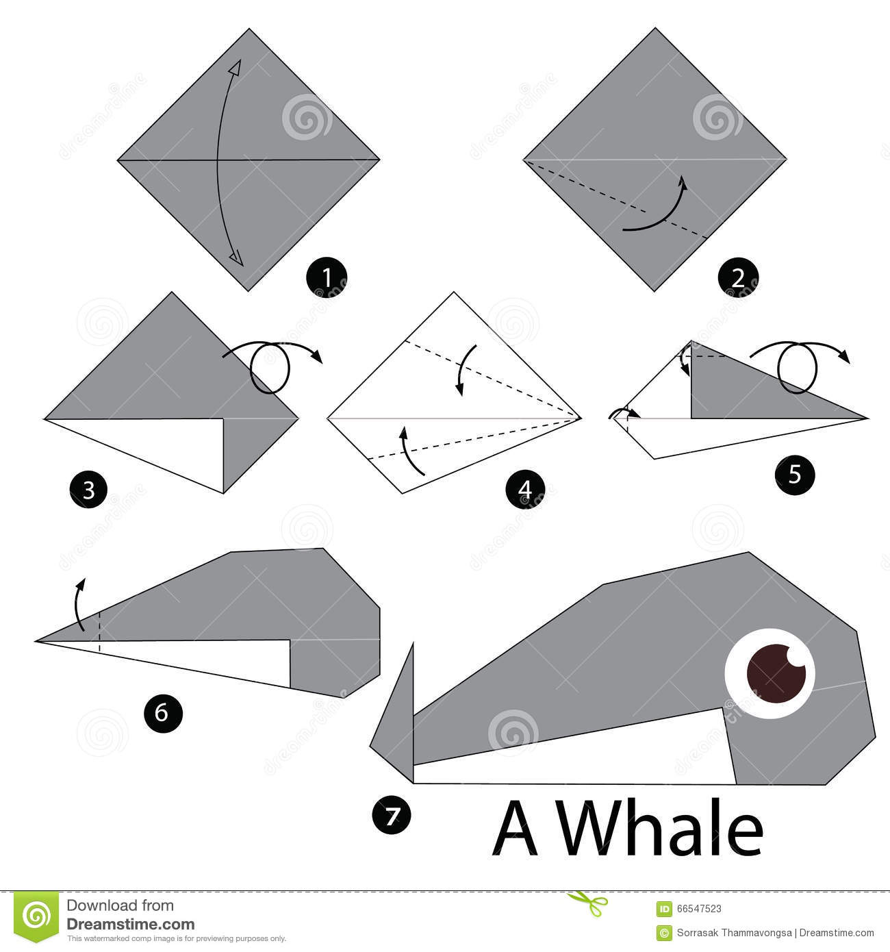Step by step instructions how to make origami whale stock vector step by step instructions how to make origami whale stock photography jeuxipadfo Gallery