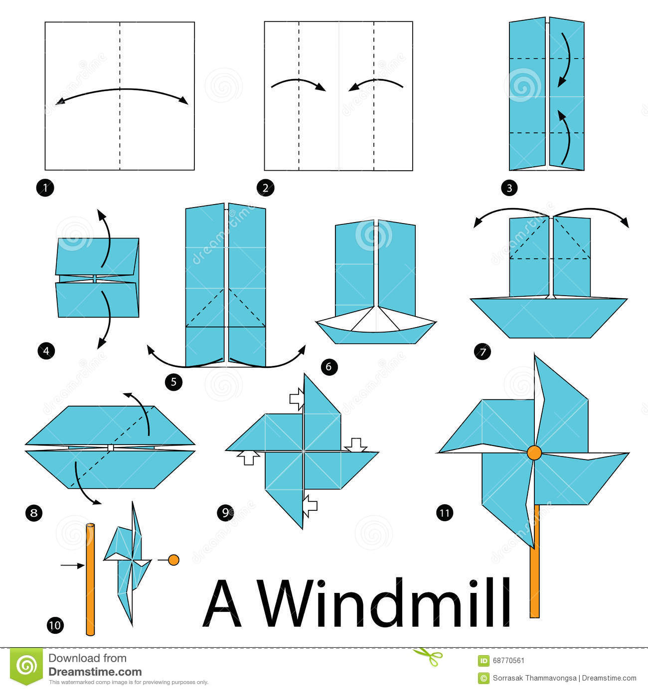 step by step instructions how to make origami a windmill stock image