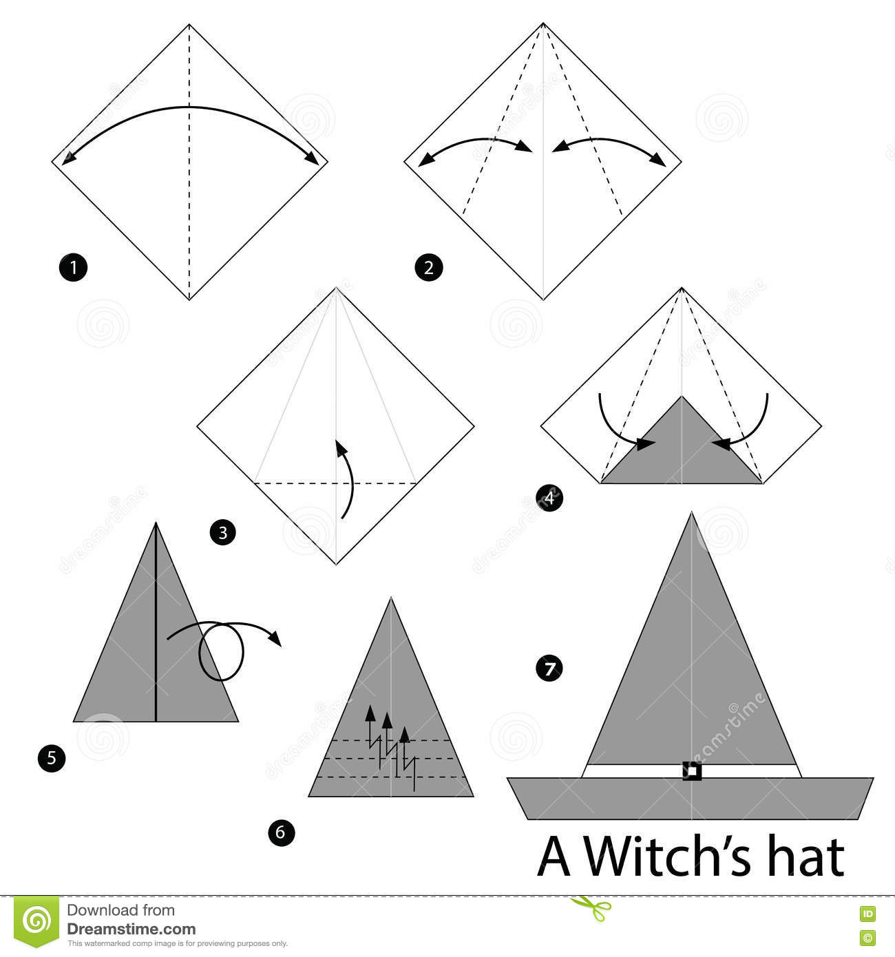 step by step instructions how to make origami a witchs hat stock photos