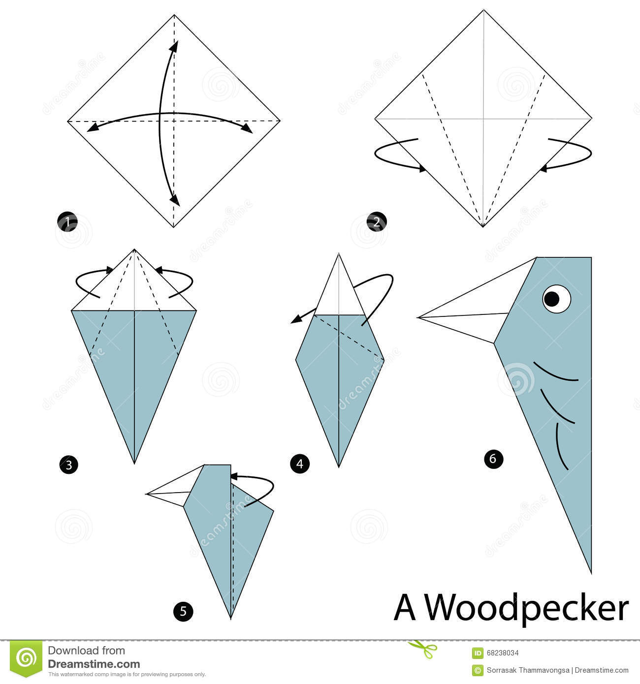 Step by step instructions how to make origami a woodpecker for Origami swan easy step by step