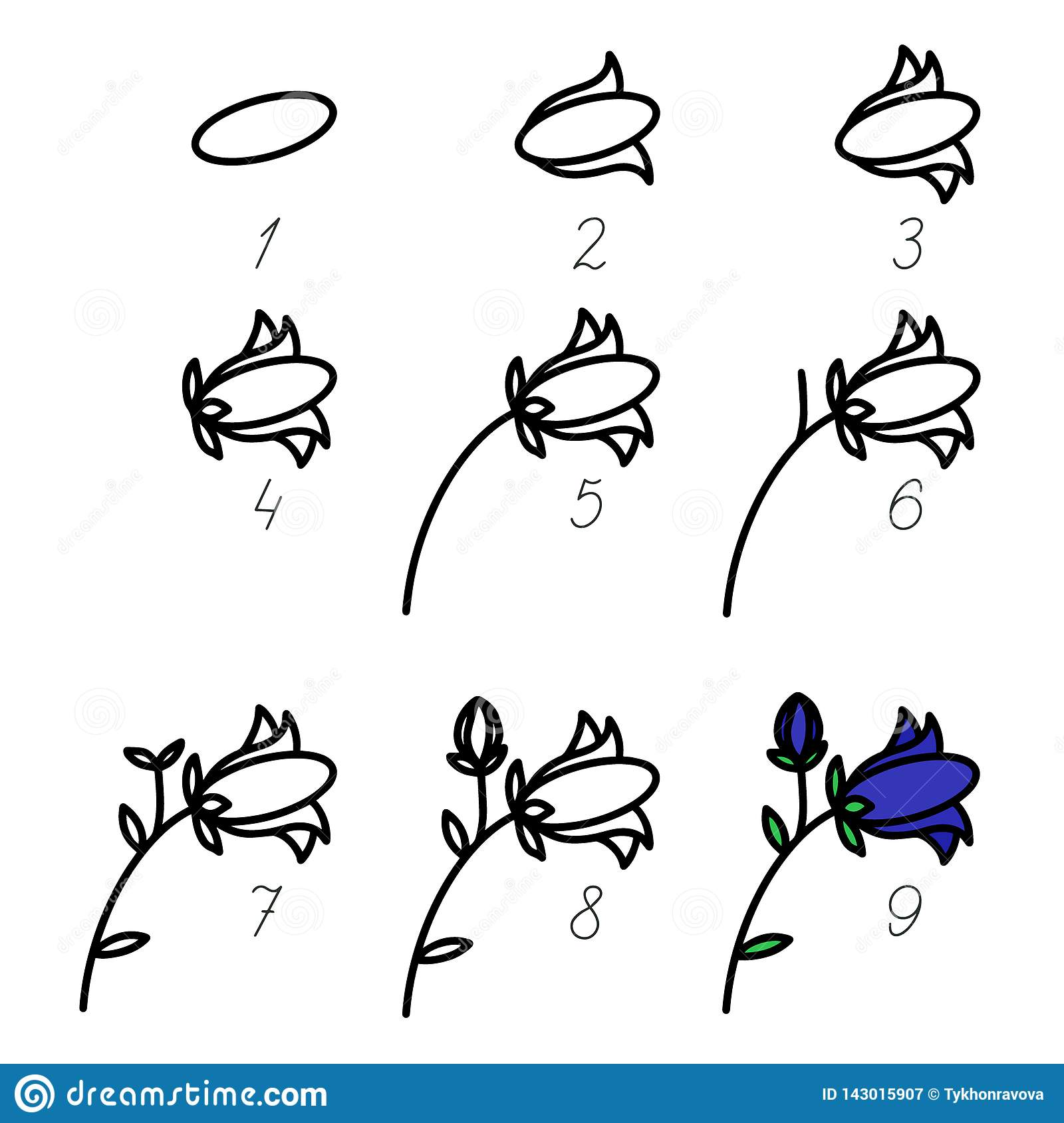 Step By Step Process Drawn Flower How To Drawn Art Vector For Beginner Brush Illustration Children Drawing Game Kid Playing Stock Vector Illustration Of Draw Children 143015907
