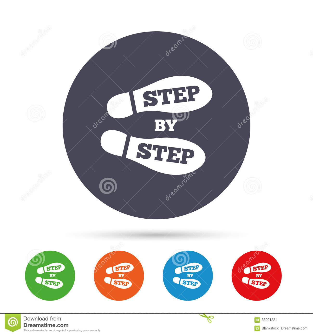 Step By Step Sign Icon Footprint Shoes Symbol Stock Vector