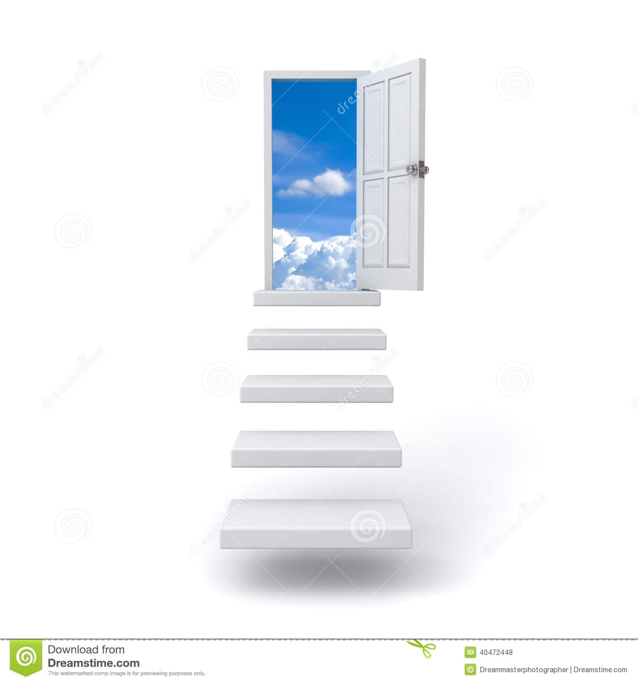 step up the ladder to the sky over white stock illustration step up the ladder to the sky over white
