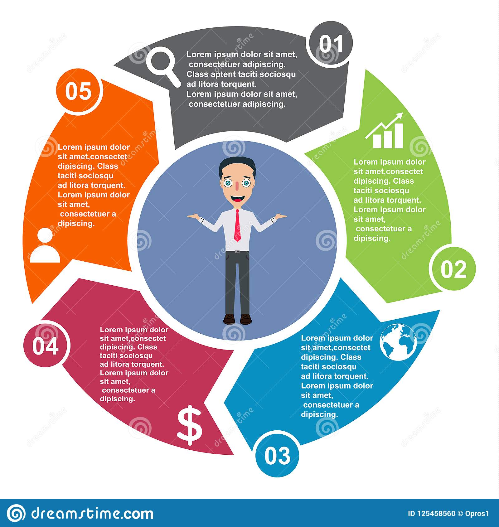 5 Step Vector Element In Five Colors With Labels  Infographic Diagram  Business Concept Of 5