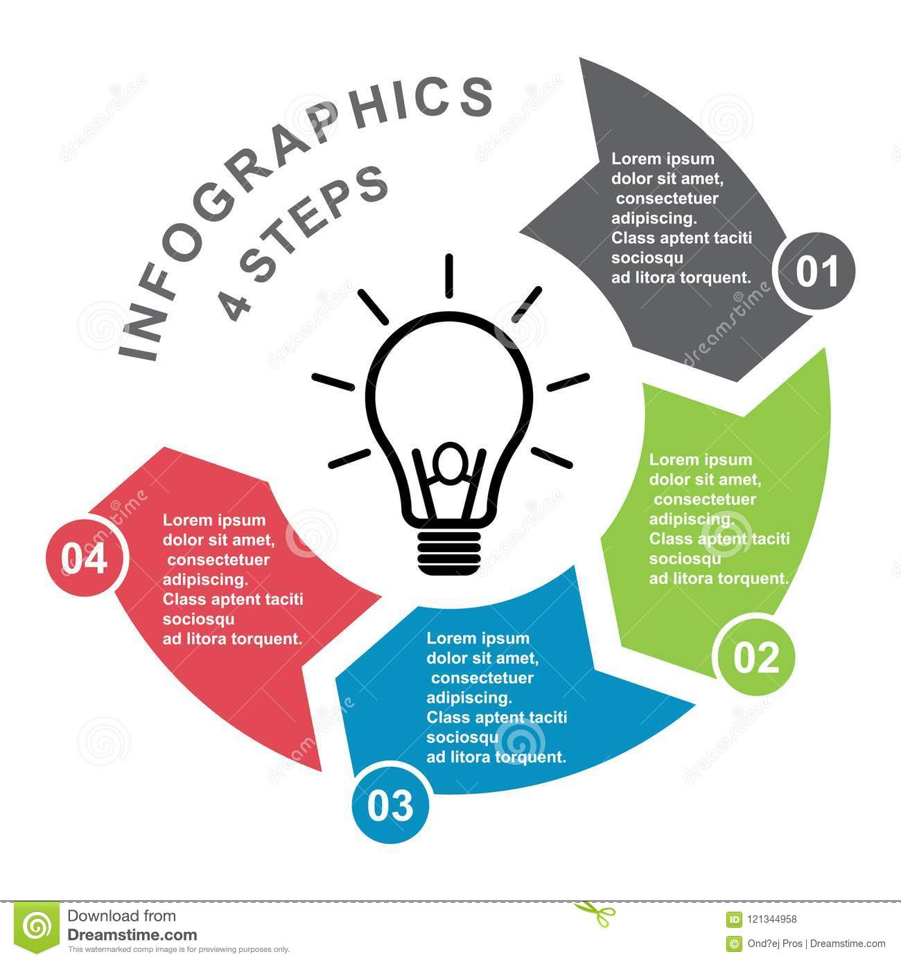 4 Step Vector Element In Four Colors With Labels  Infographic Diagram  Business Concept Of 4