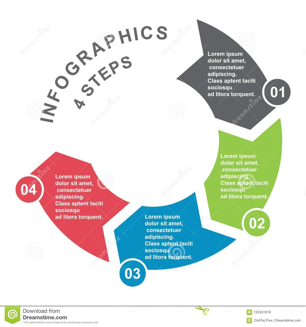 4 step vector element in four colors with labels, infographic diagram. Business concept of 4 steps or options with