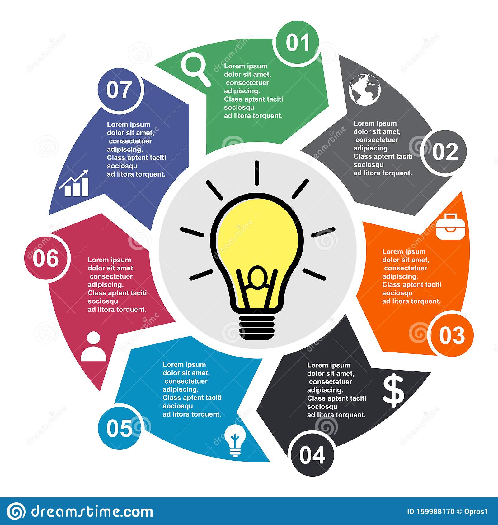 7 Step Vector Element In Seven Colors With Labels  Infographic Diagram  Business Concept Of 7