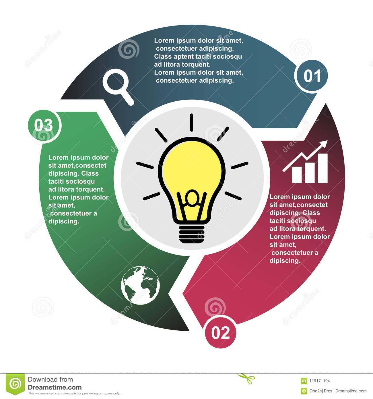 3 Step Vector Element In Three Colors With Labels  Infographic Diagram  Business Concept Of 3