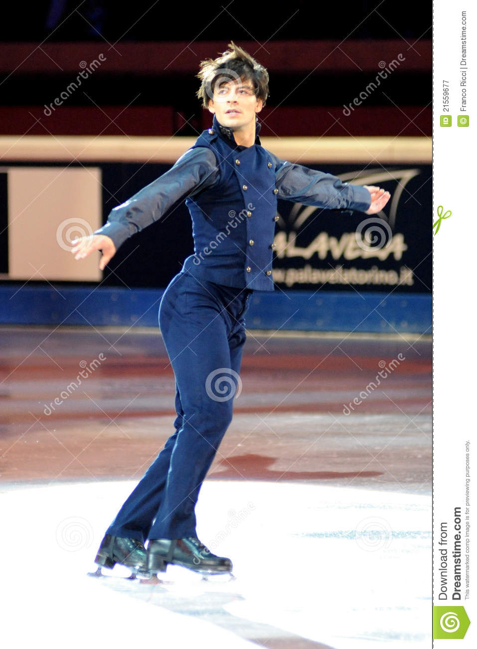 Ice Skater Stephane Lambiel Figure Skating 2006 World Champions And Olympic Vice Exhibiting At Golden Skate Award In Turin Italy