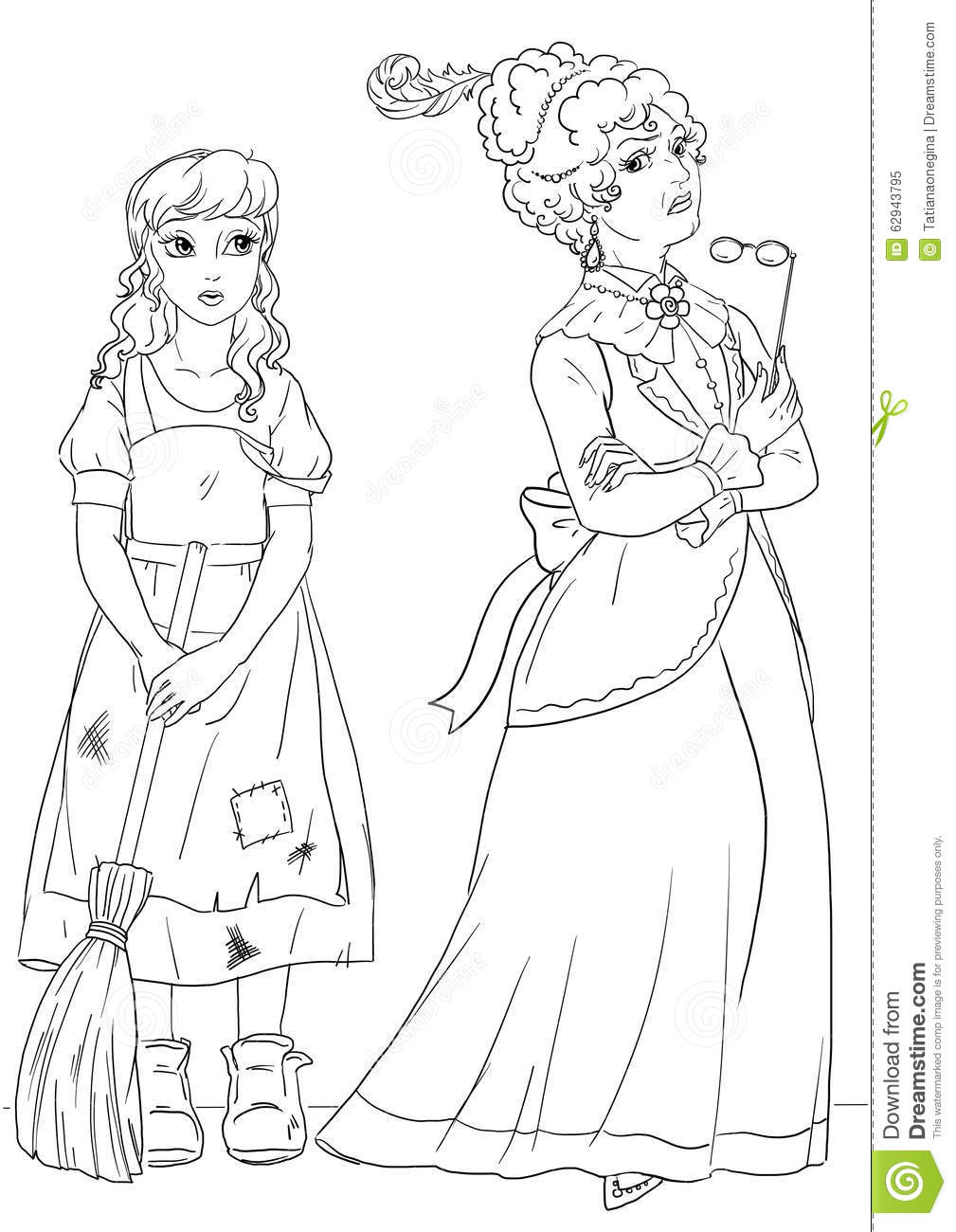 Coloring Page With Cinderella And Her Evil Stepmother