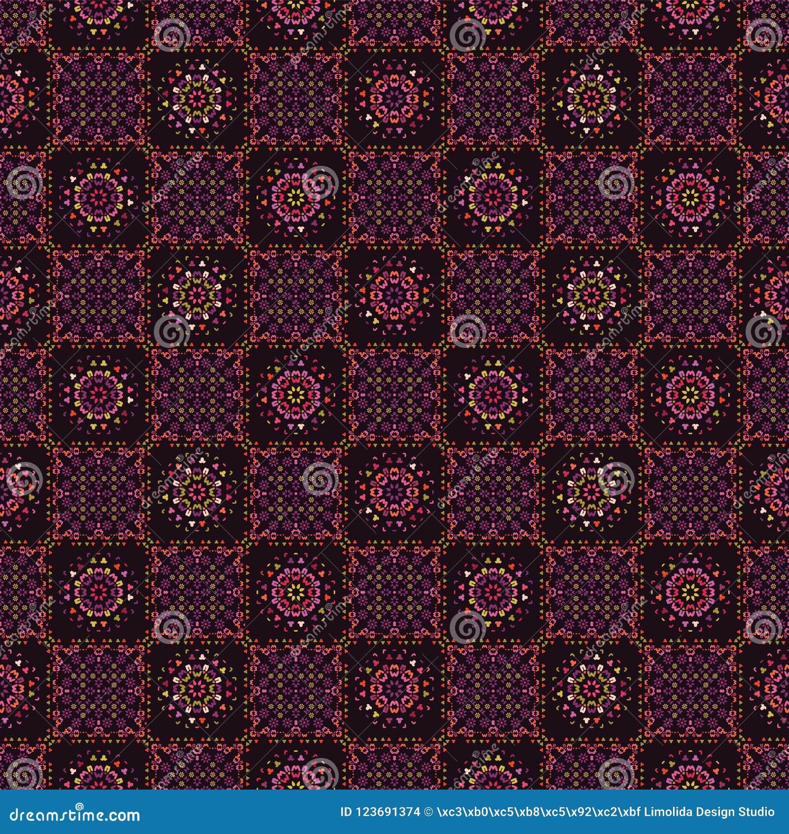 Steppdecken-Patchwork-Fliesen-Muster-Völker und Blume