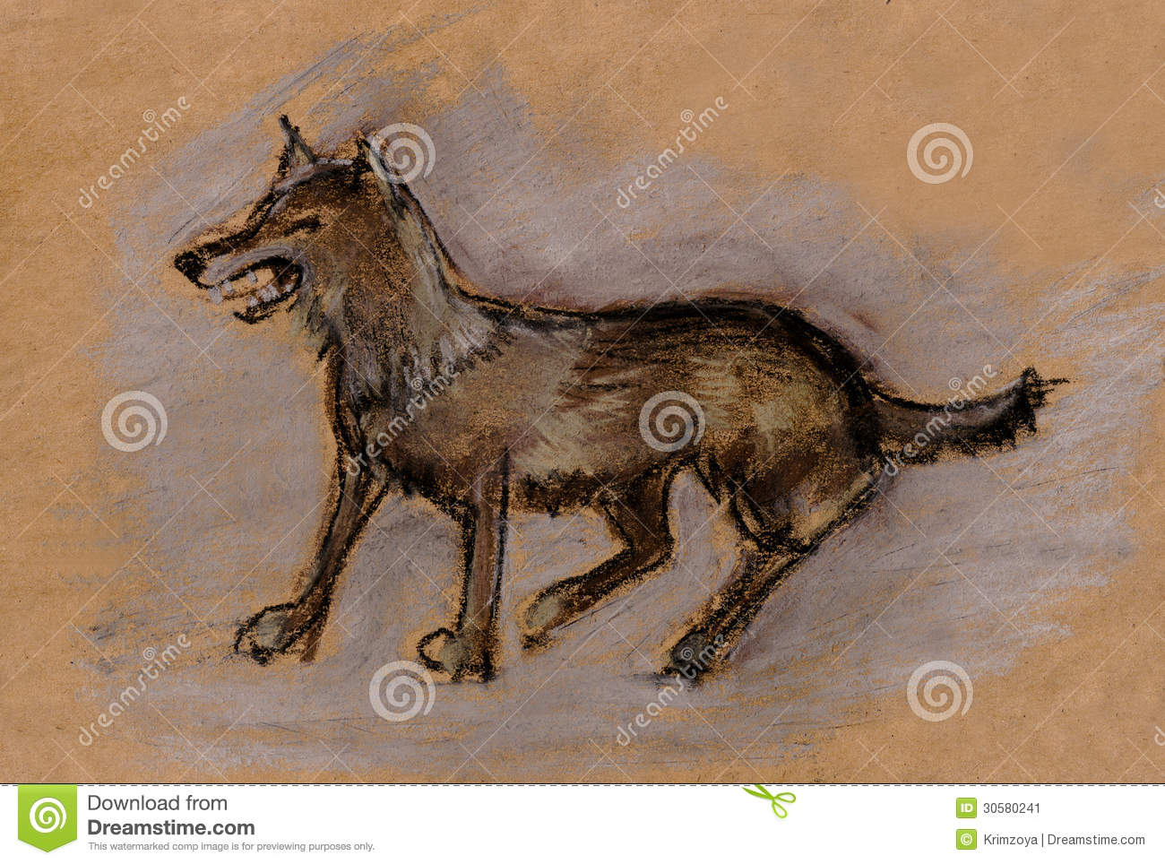 A steppe red wolf