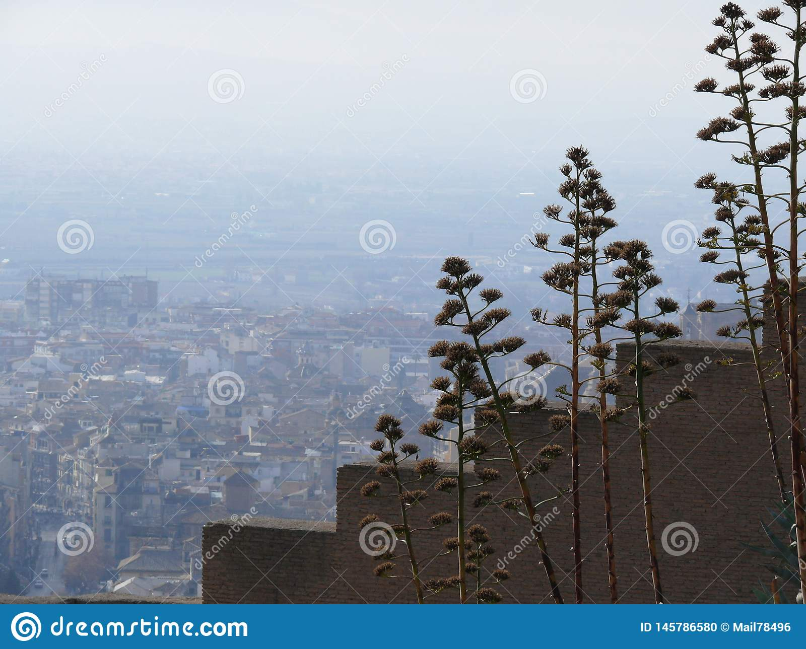 Stepped walls with views of Granada