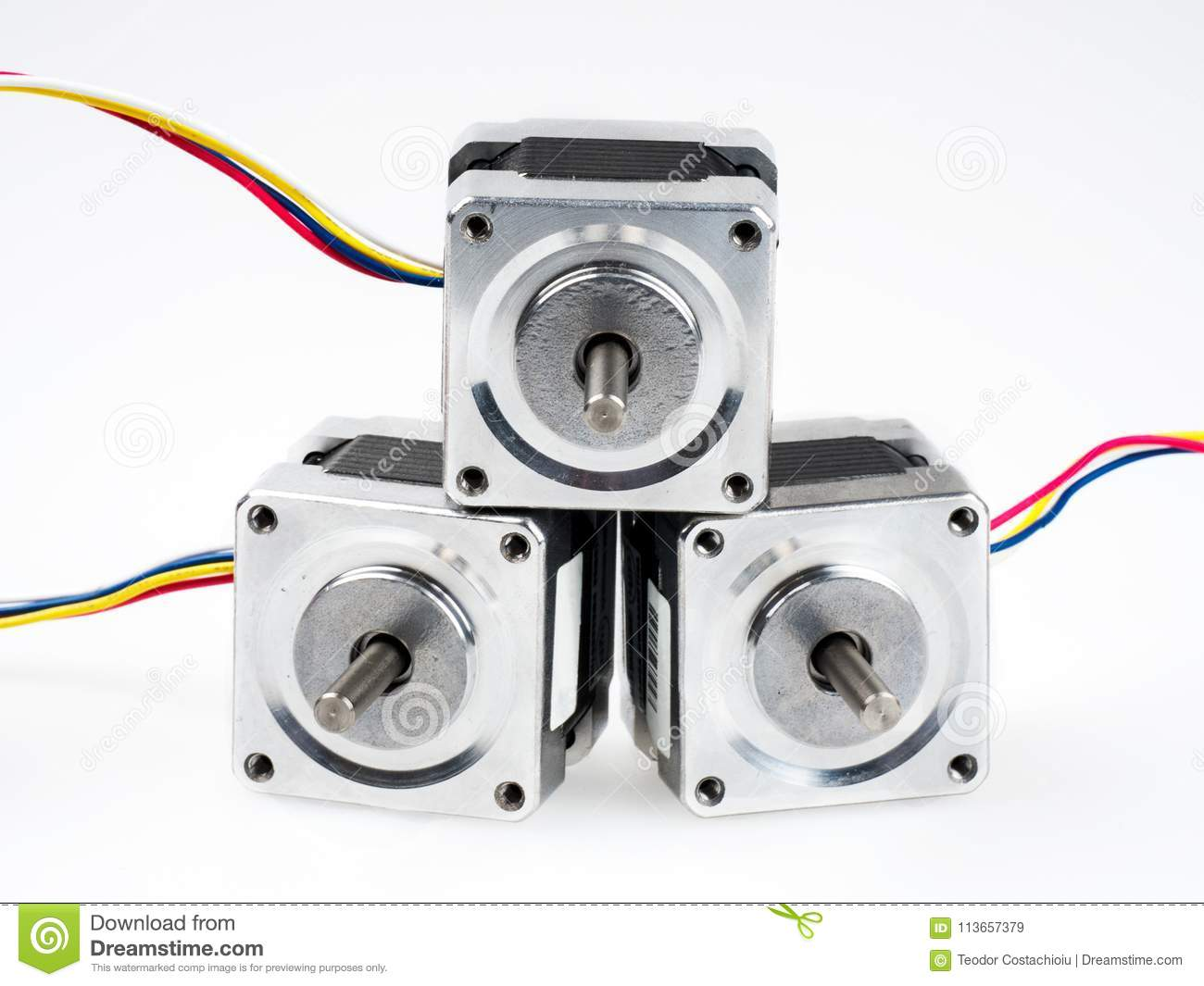 Stepper Motors With Wires Isolated On White Stock Image Of Motor Wiring