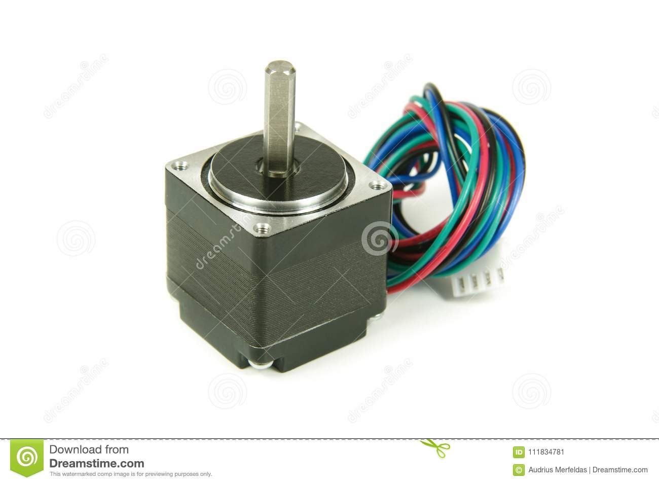 Stepper Motor With Wires And Connector Isolated Stock Image Wiring