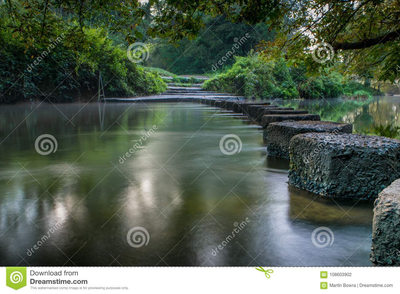 The Famous Stepping Stones At Boxhill In Surrey England Going Across River Mole