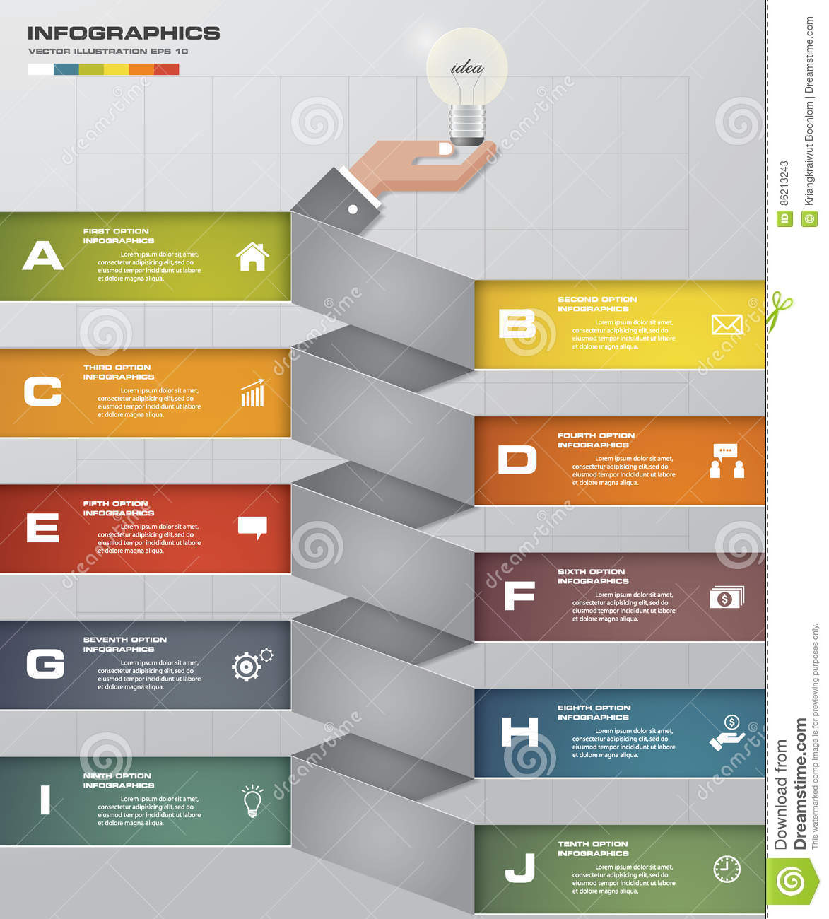 10 steps chart template/graphic or website layout abstract business chart   10 steps