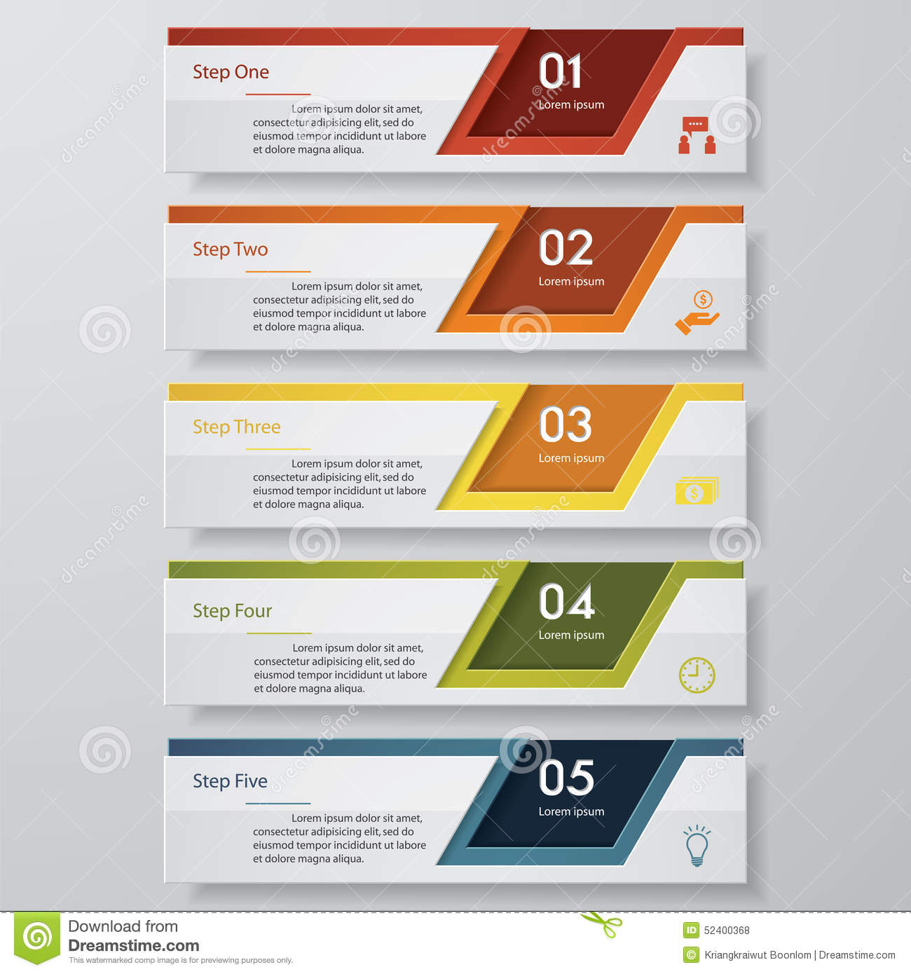 5 steps chart template/graphic or website layout. stock vector