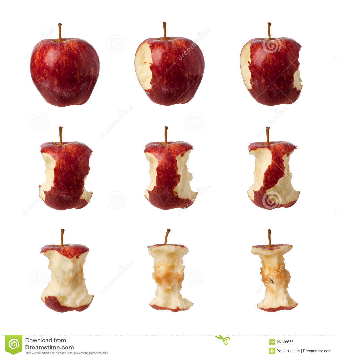 Steps For Eating An Apple Stock Photo. Image Of Isolated
