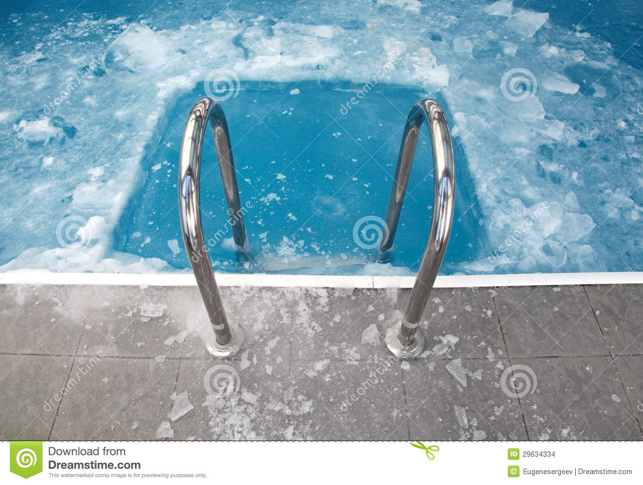 steps in the frozen blue swimming pool stock images image 29634334. Black Bedroom Furniture Sets. Home Design Ideas