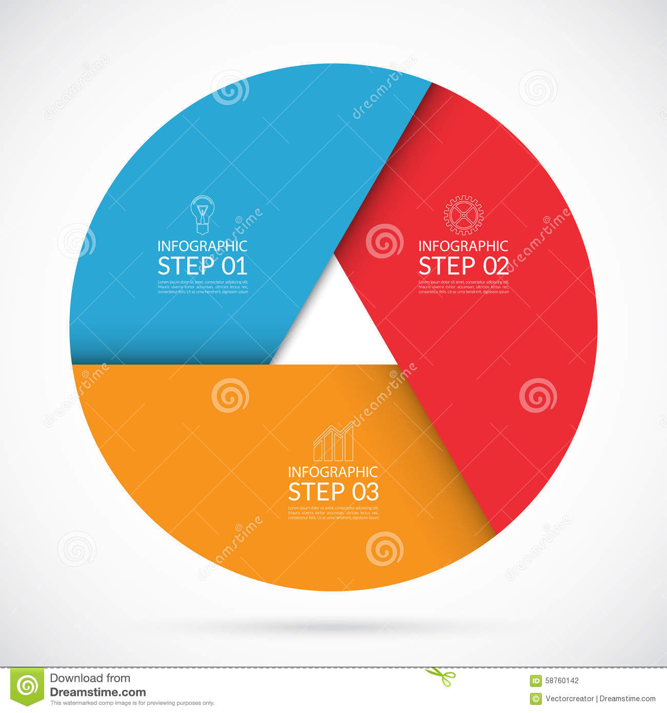 3 Steps Infographic Circle Template In Material Style Stock Vector