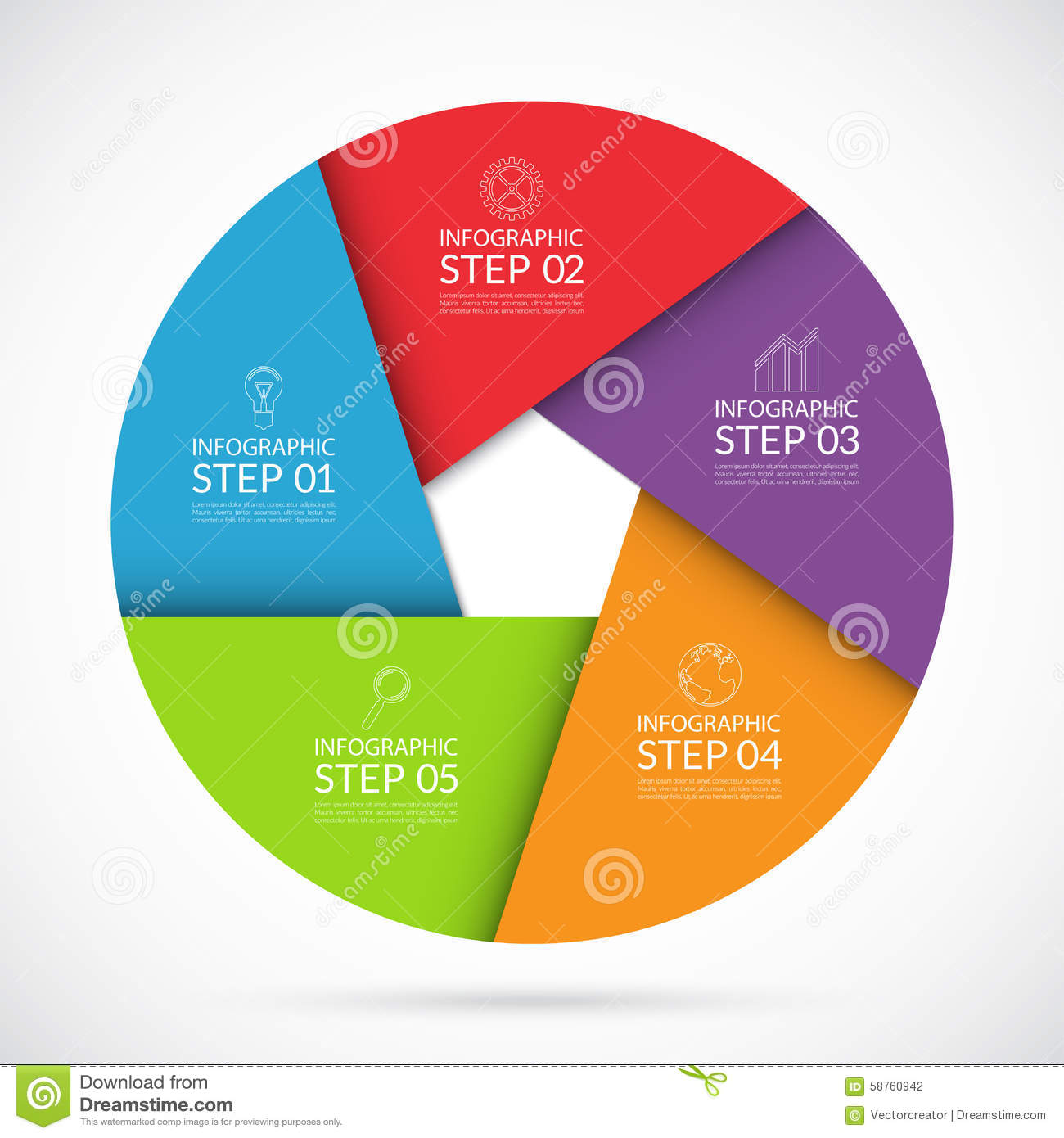5 Steps Infographic Circle Template In Material Style