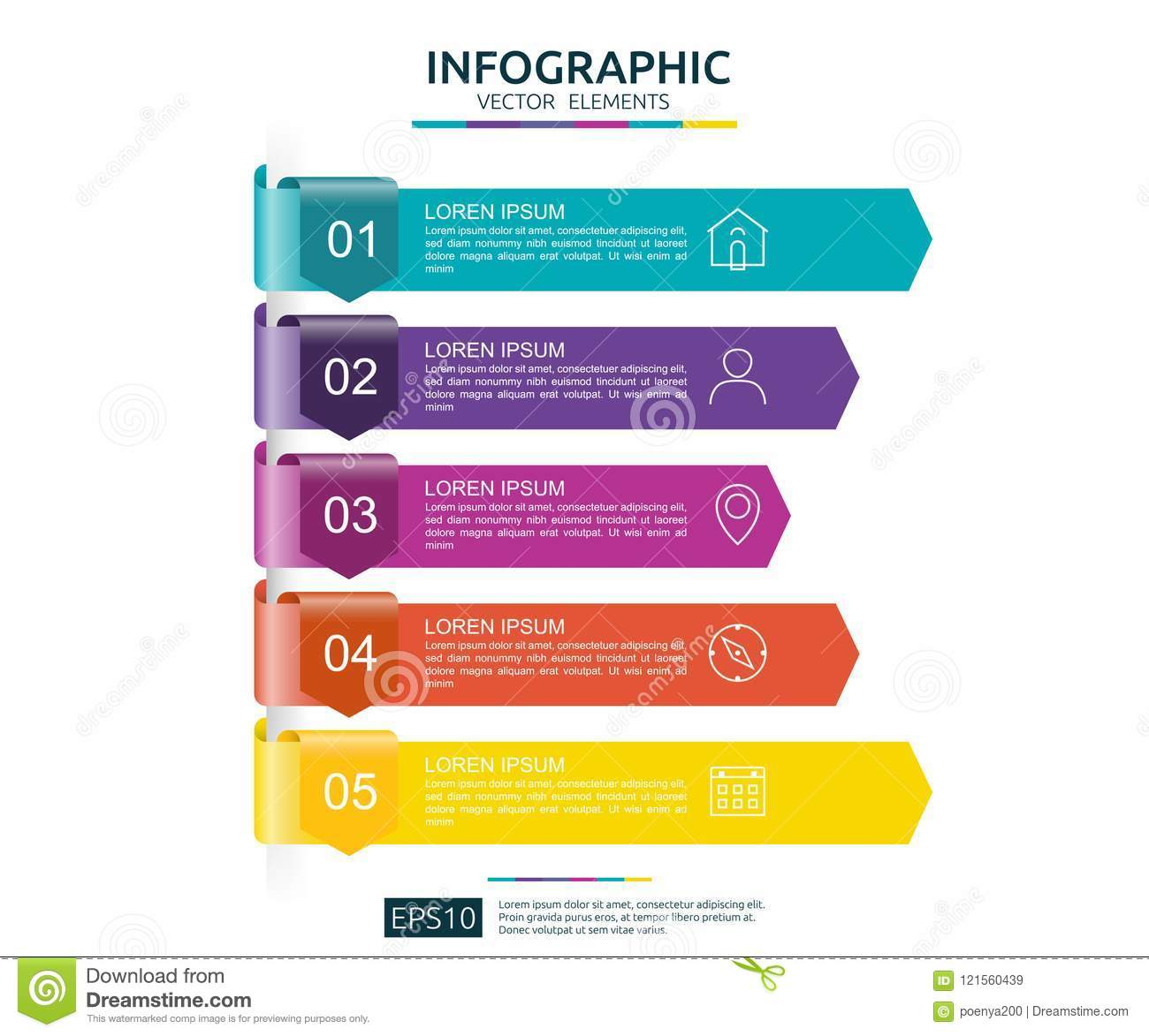 5 steps infographic timeline design template with 3d arrow paper timeline design template with 3d arrow paper element business concept friedricerecipe Gallery