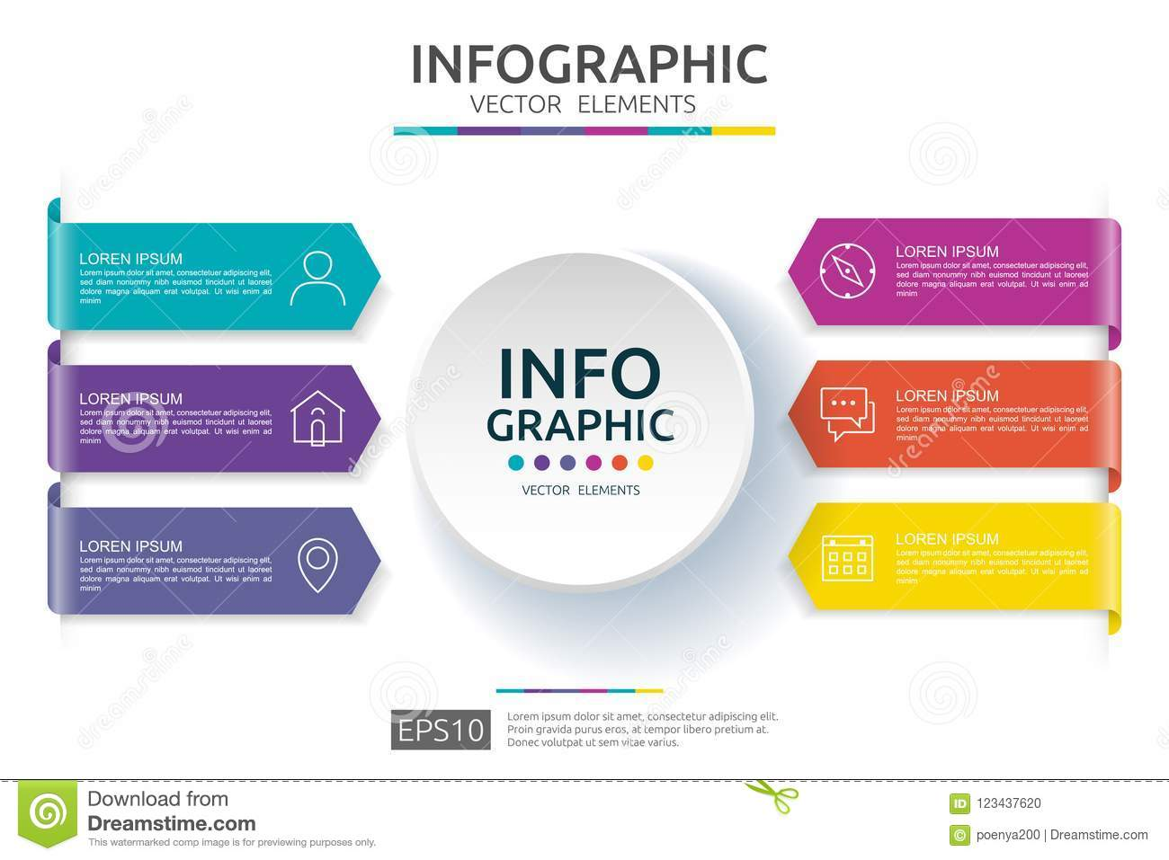 6 steps infographic. timeline design template with 3D paper label. Business concept with options. For content, diagram, flowchart,