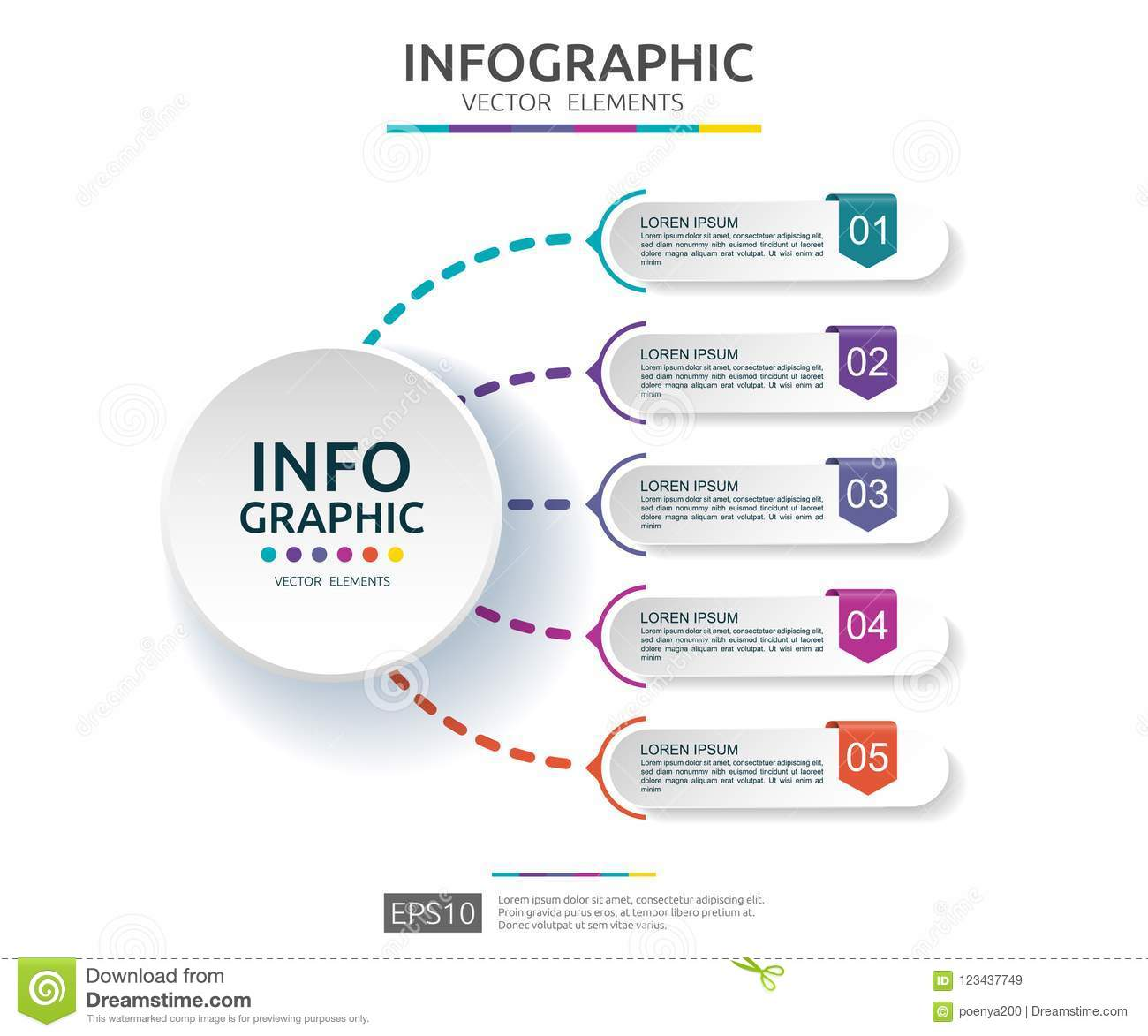 5 steps infographic. timeline design template with 3D paper label. Business concept with options. For content, diagram, flowchart,