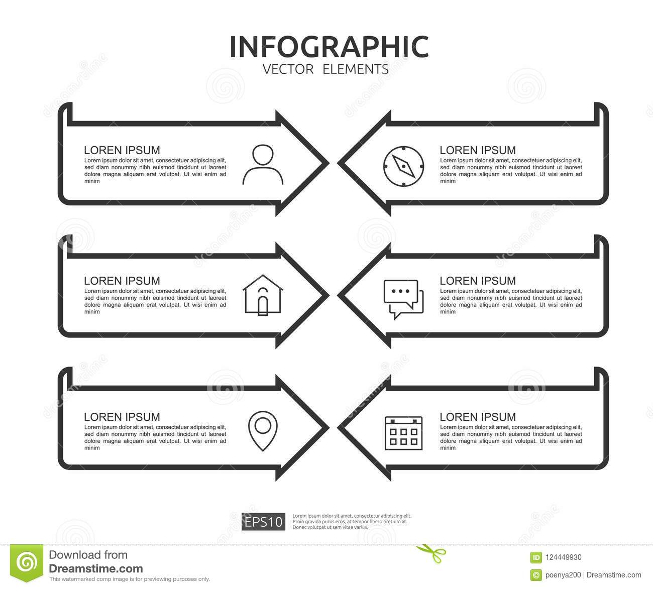 6 steps infographic timeline design template with 3d paper label