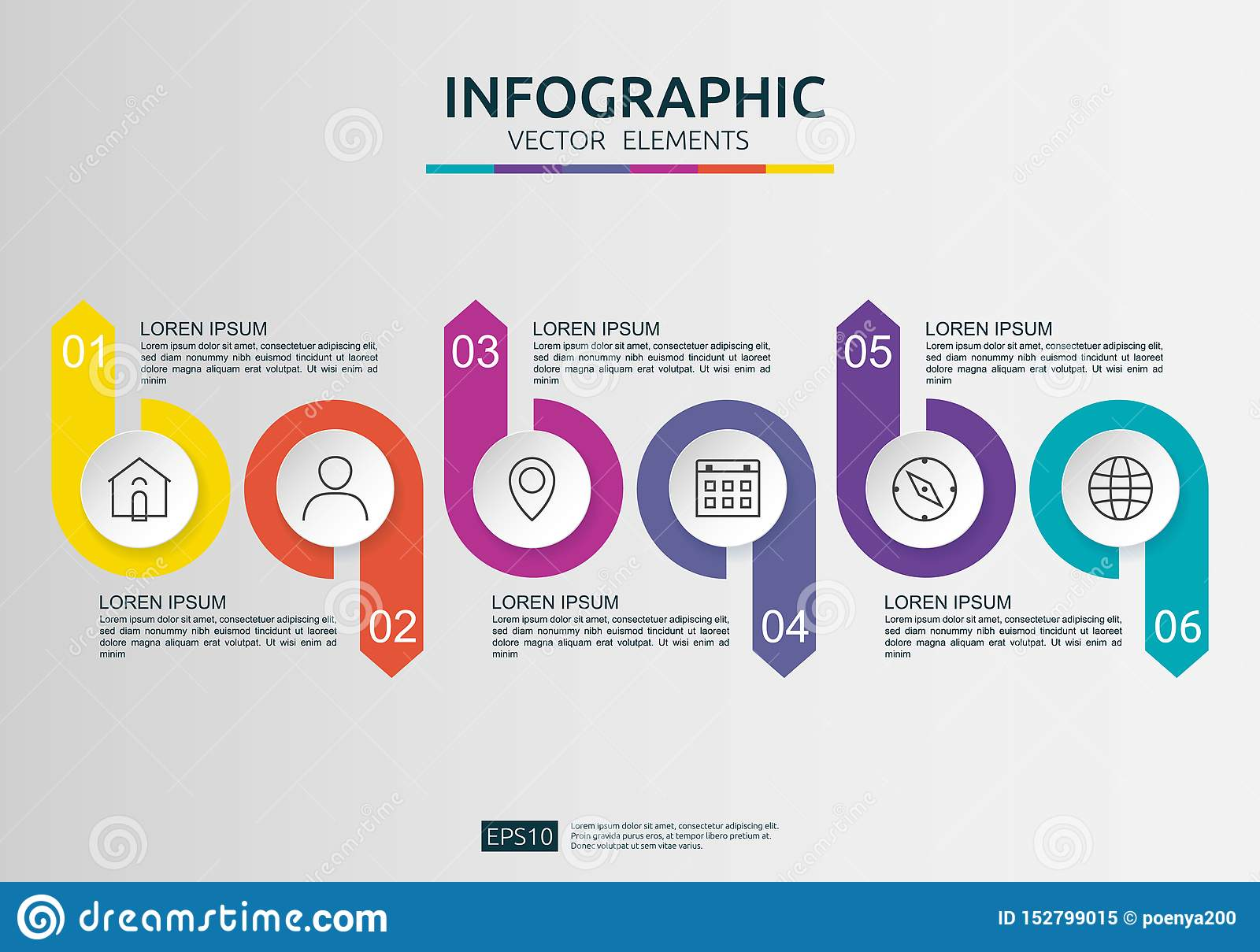 6 steps infographic. timeline design template with 3D paper label, integrated circles. Business concept with options. For content