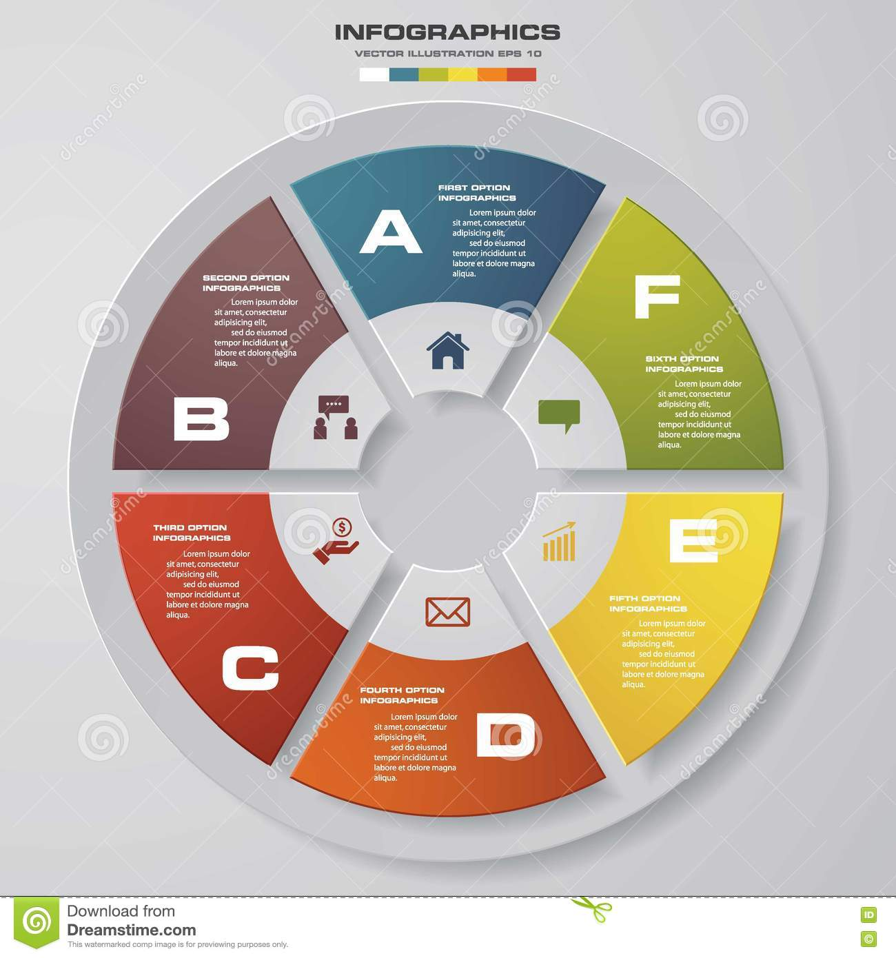 6 Steps Infographics Vector Design Template. Simple