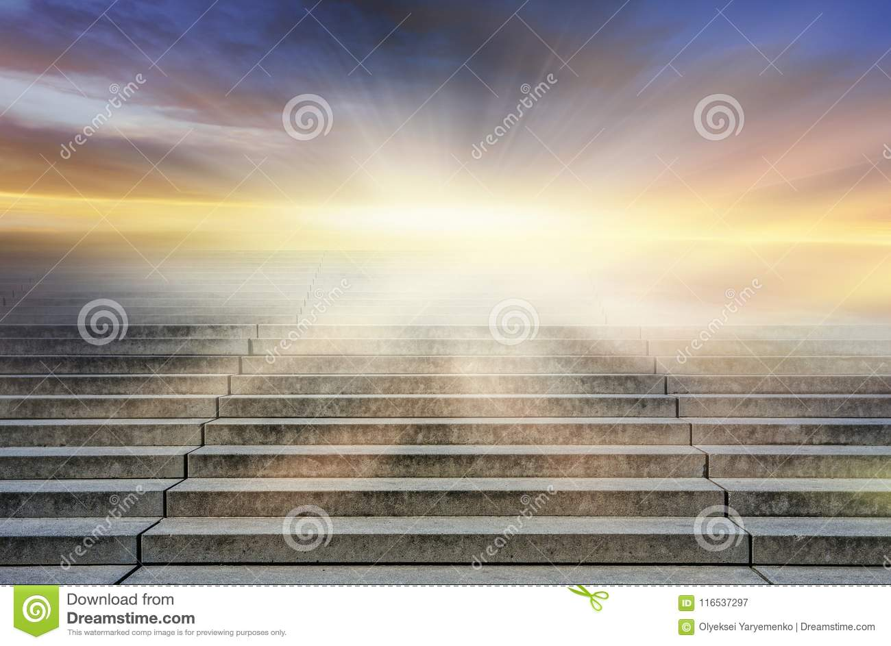 Steps leading up to the sun. Way to God . bright light from heaven .