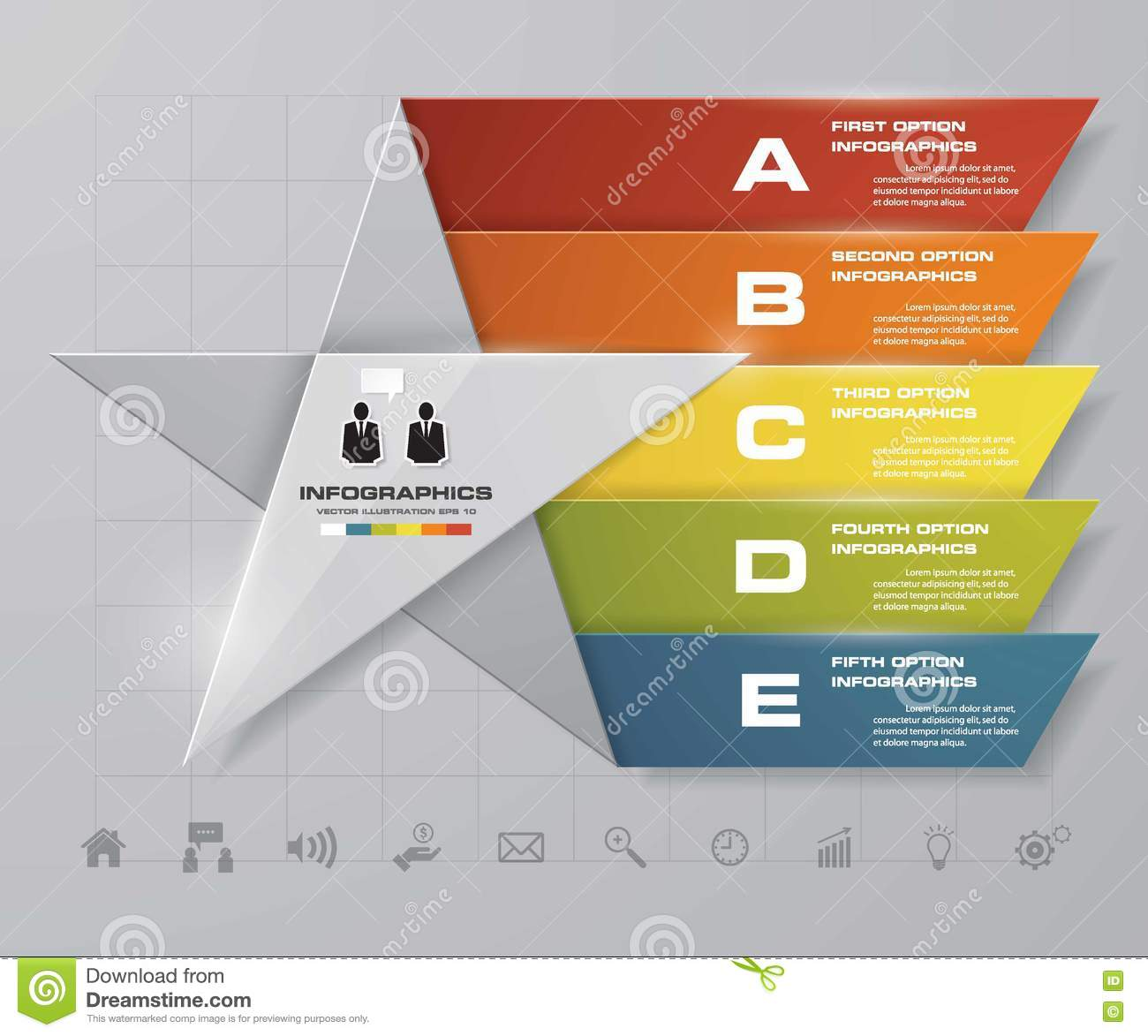 5 Steps Presentation Template Options Star Shape Graphic Or Diagram Download Website Layout