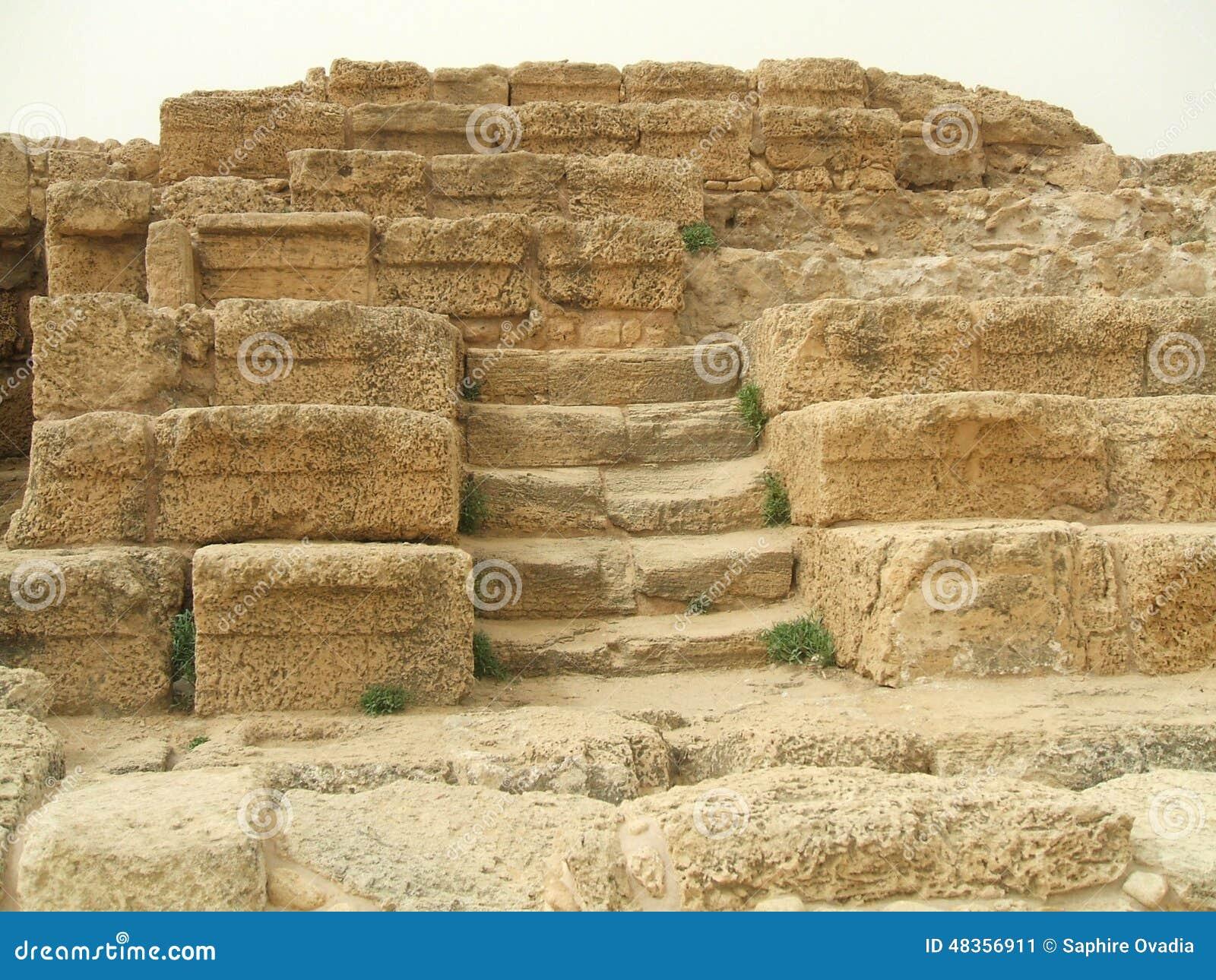 Steps, Roman Theater, Caesarea, Israel, Middle East Stock Image ...