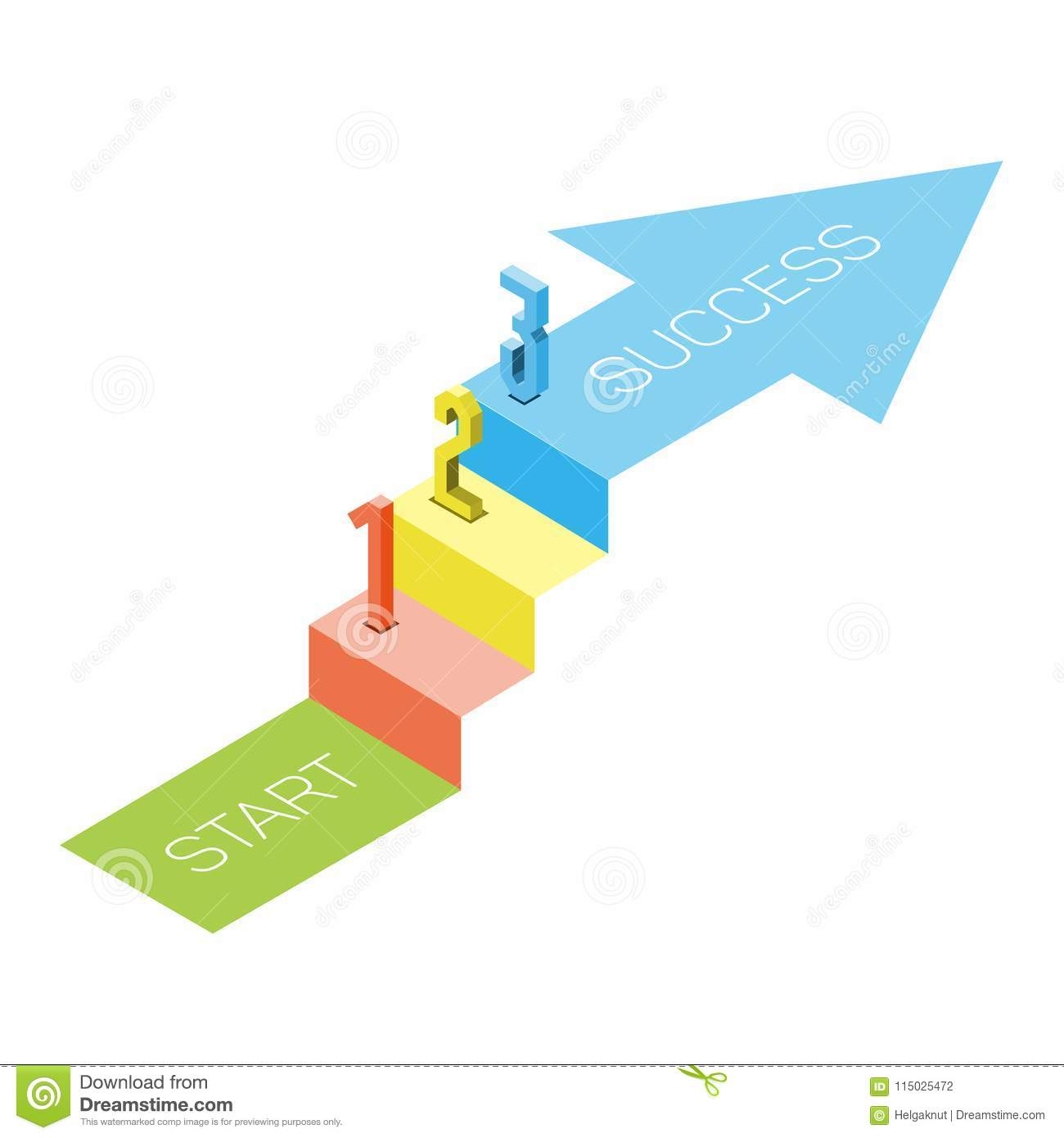 1 2 3 Steps Stair With Arrow Isometric View Infographic Concept