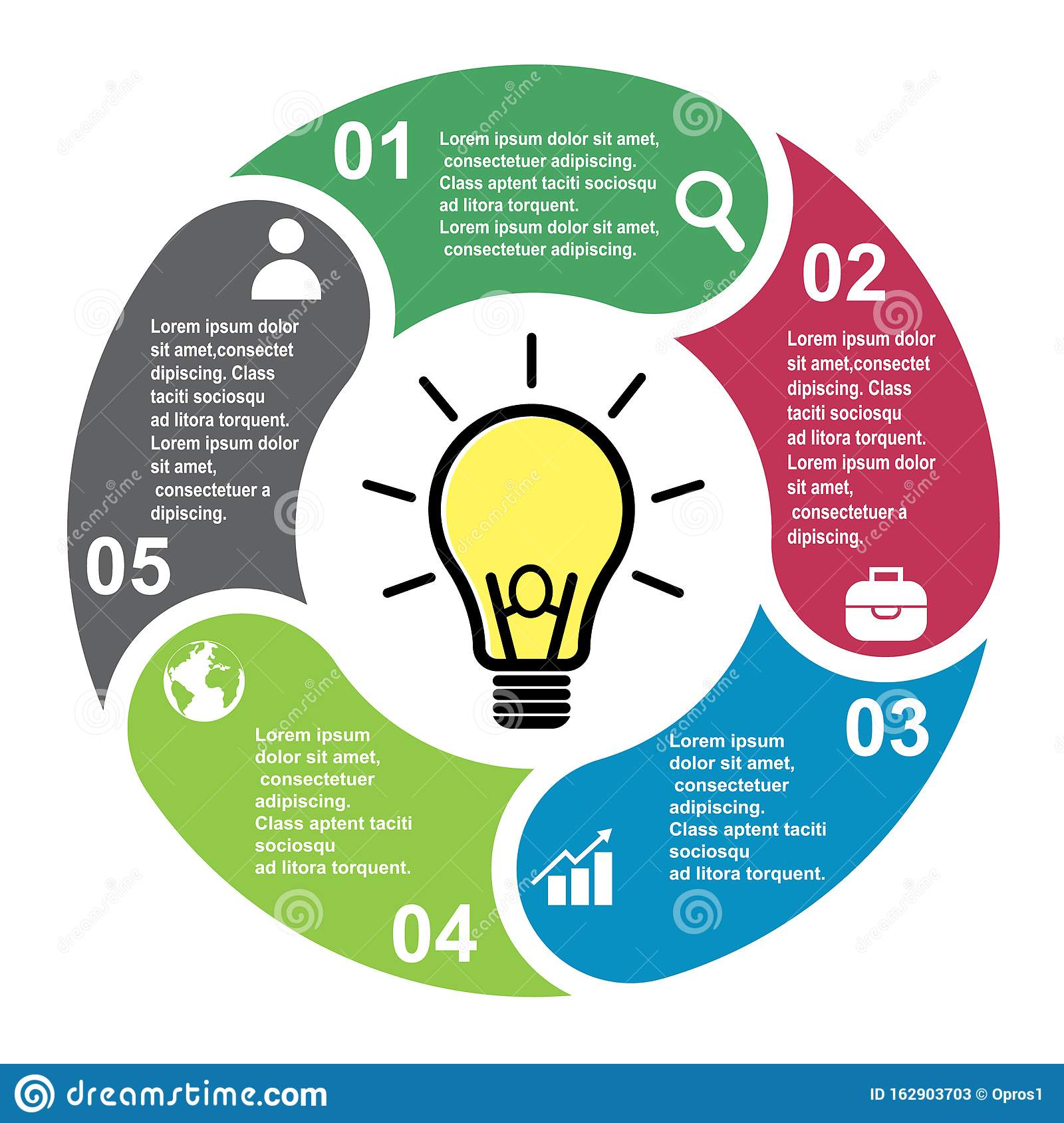 5 Steps Vector Element In Five Colors With Labels  Infographic Diagram  Business Concept Of 5