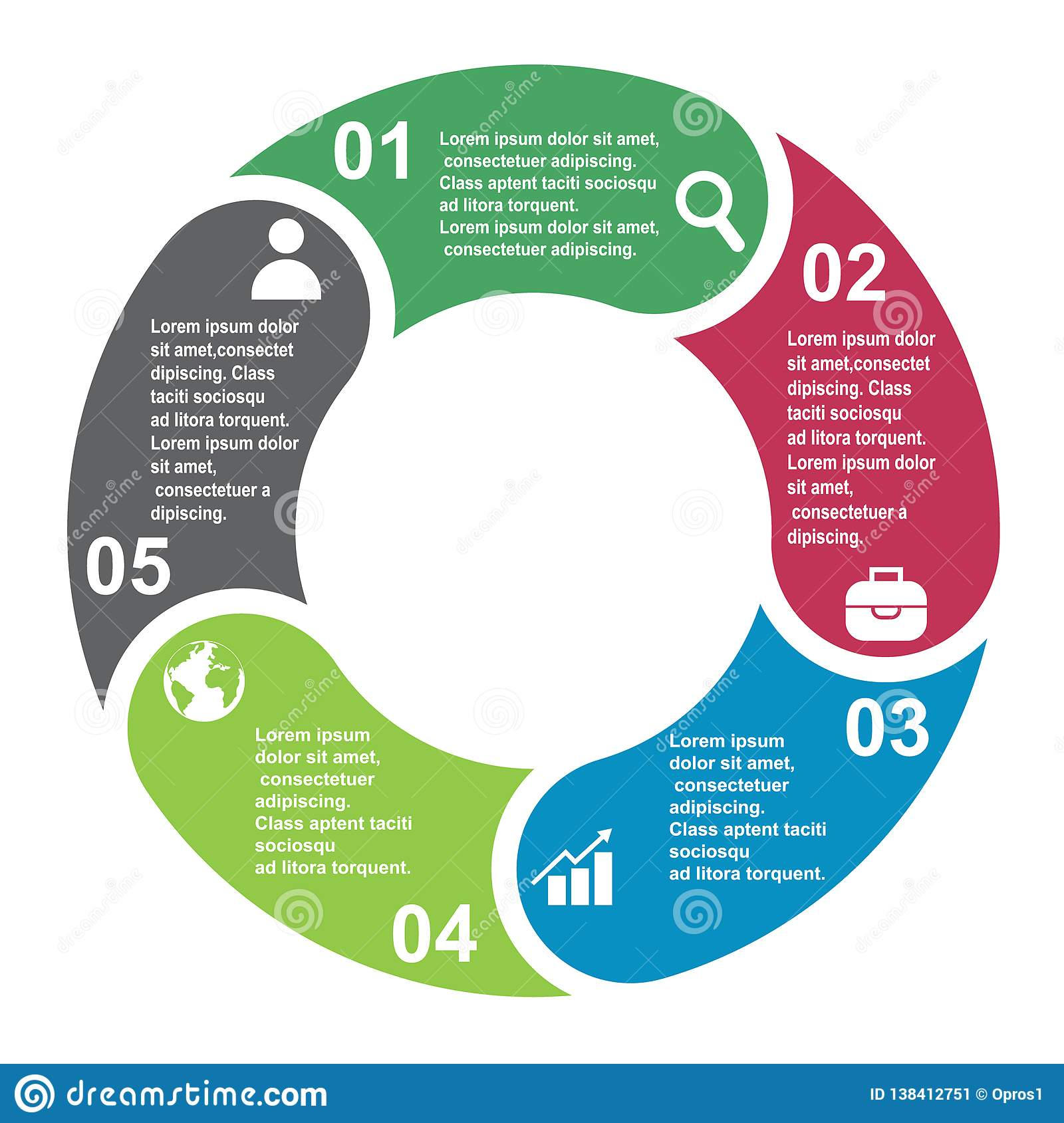 5 steps vector element in five colors with labels, infographic diagram. Business concept of 5 steps or options with empty