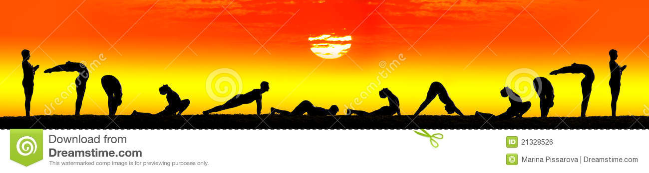 Steps Of Yoga Surya Namaskar Sun Salutation Royalty Free Stock Image ...
