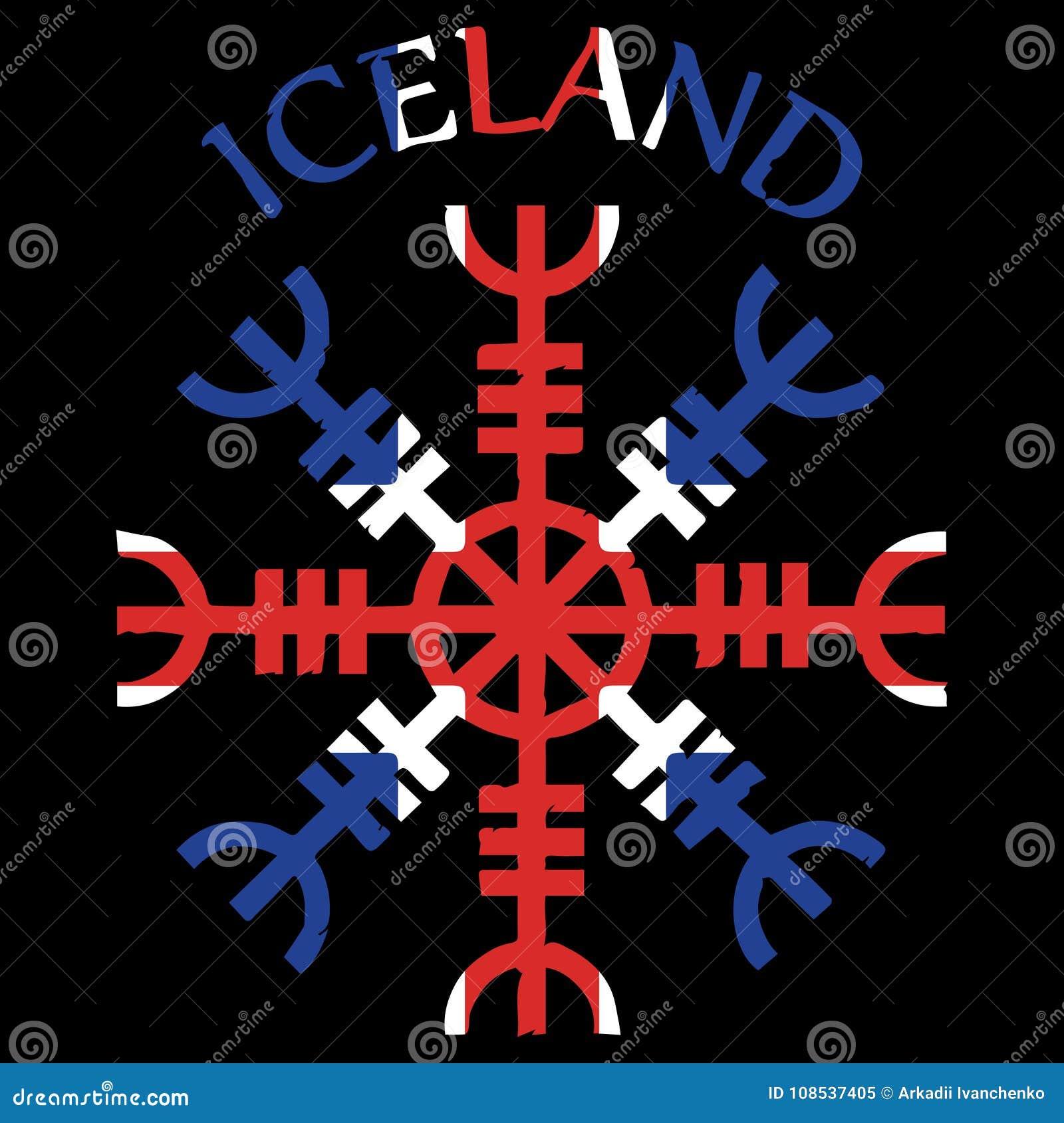 Ster respekt, ster terror, Islandzkie magiczne klepki, Aegishjalmur, z Iceland flaga