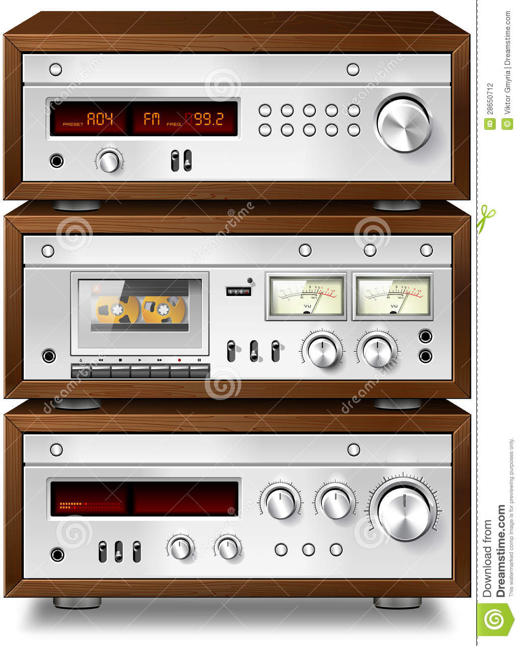 stereo cassette deck with amplifier and tuner stock. Black Bedroom Furniture Sets. Home Design Ideas