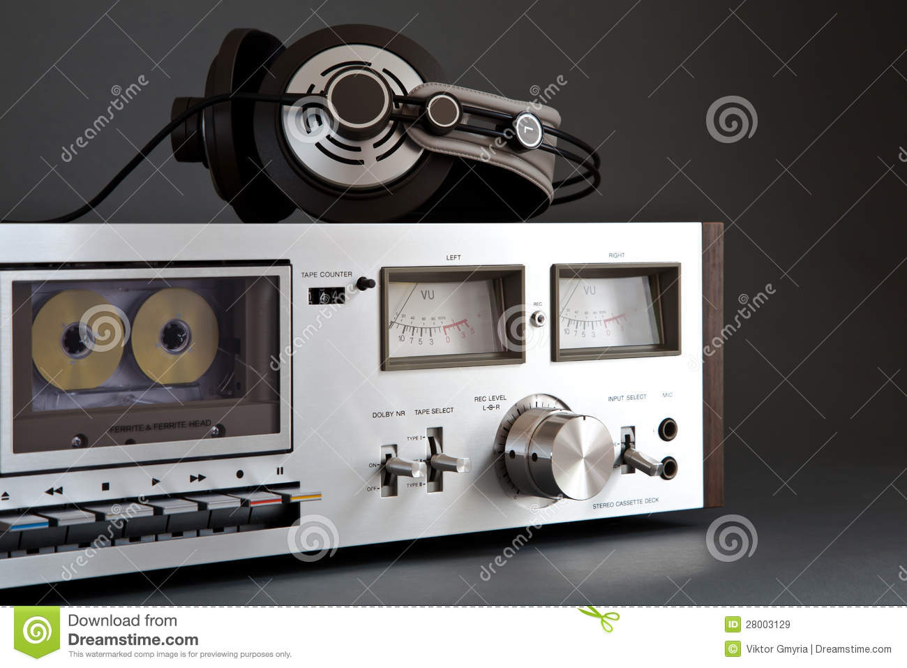 6d9d79d41791 Stereo Cassette Tape Deck Analog Vintage Stock Image - Image of ...