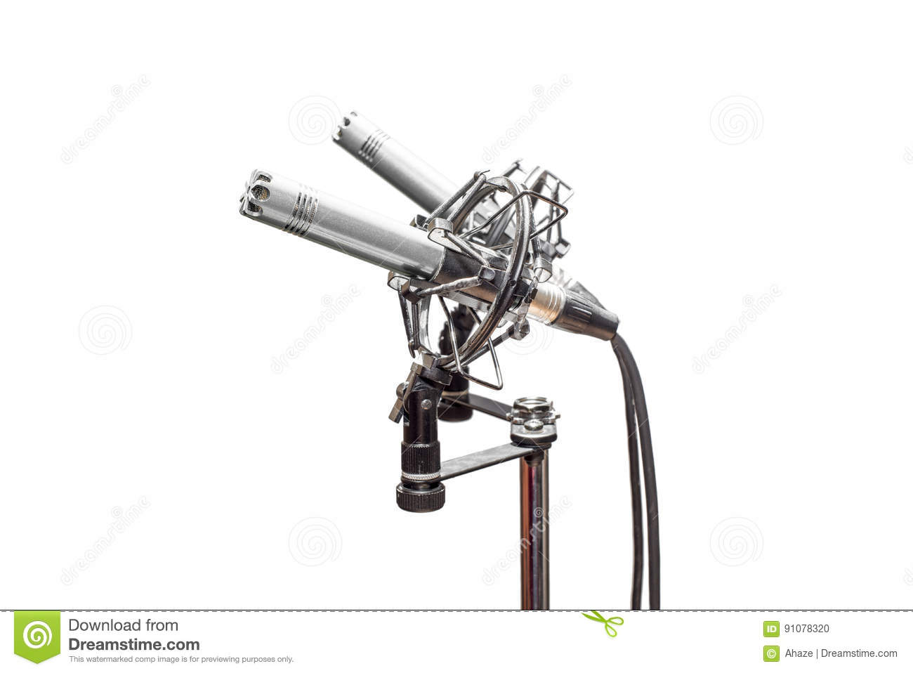 Stereo Condenser Microphones With Cables Shockmounts And Stand Microphone Ribbon Diagram Isolated On White