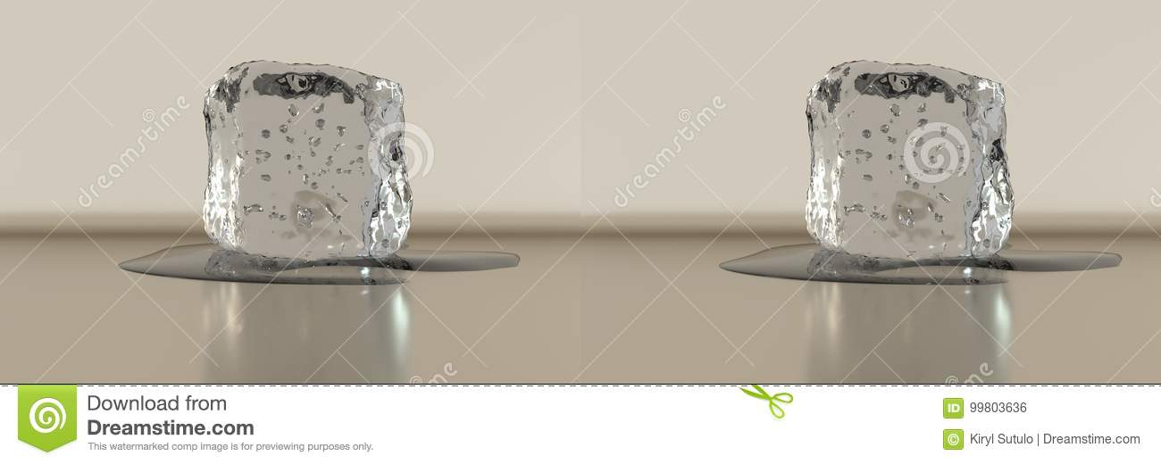 3d Rendering Stereo Side By Side Ice Cube With Some Water Stock Photo Image Of Cube Stereo 99803636