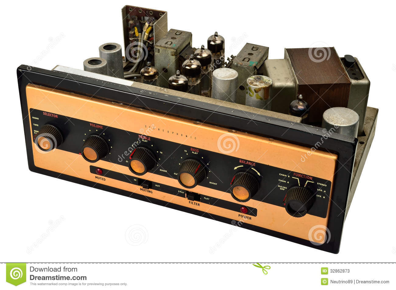 Stereophonic Valve Amplifier Stock Image - Image of volume, tape ...