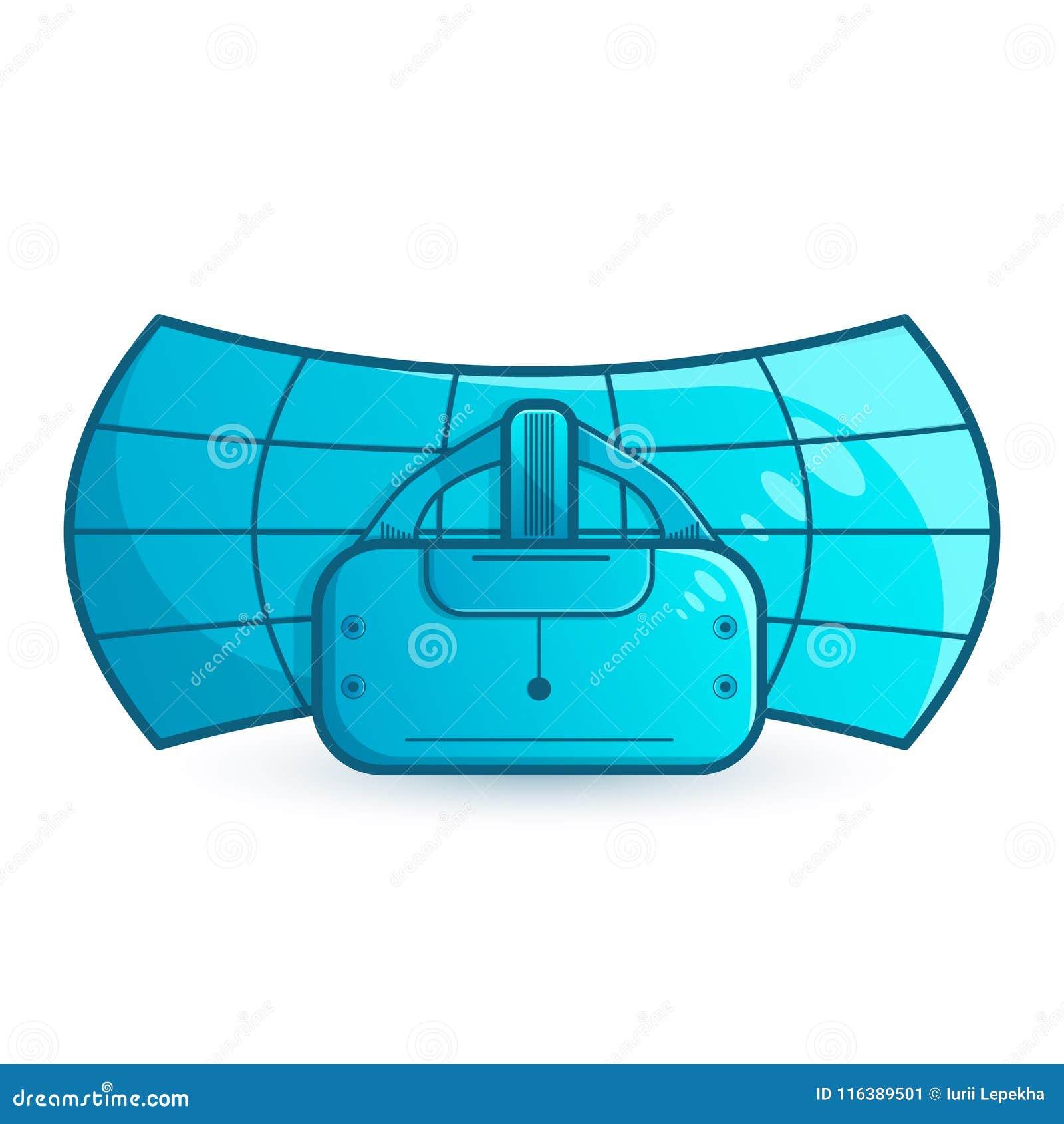 Stereoscopic VR illustration. Vector virtual digital cyberspace technology. Innovation device.