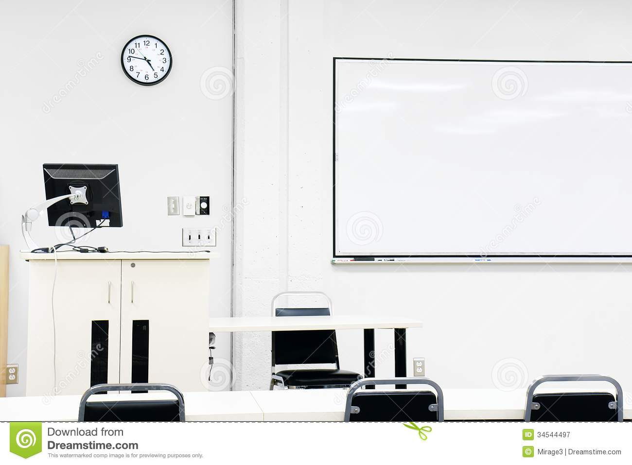 Modern Classroom Clipart ~ Sterile modern classroom royalty free stock photography