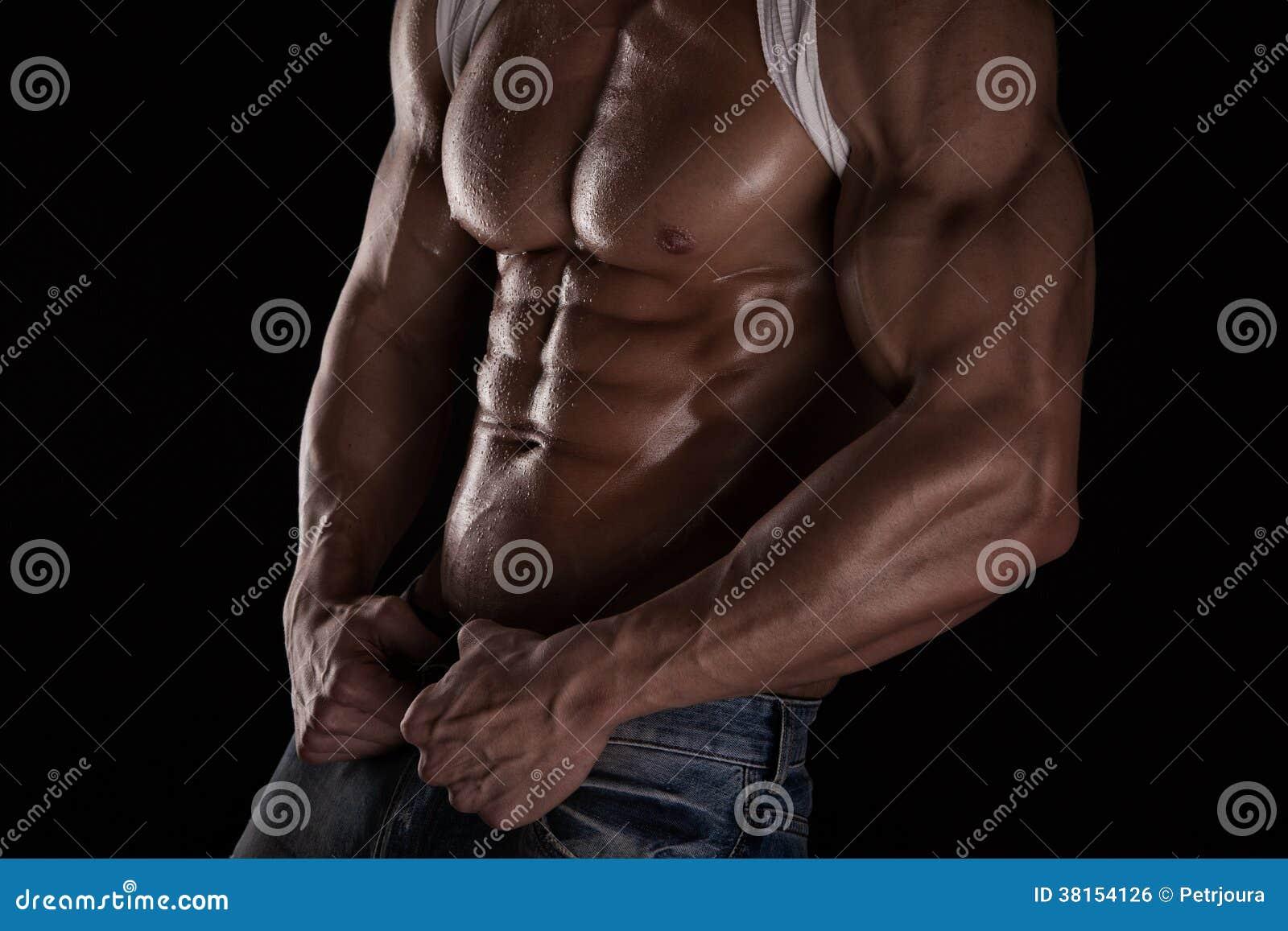 Sterke Atletische Mensengeschiktheid ModelTorso die zes pakkenabs tonen.