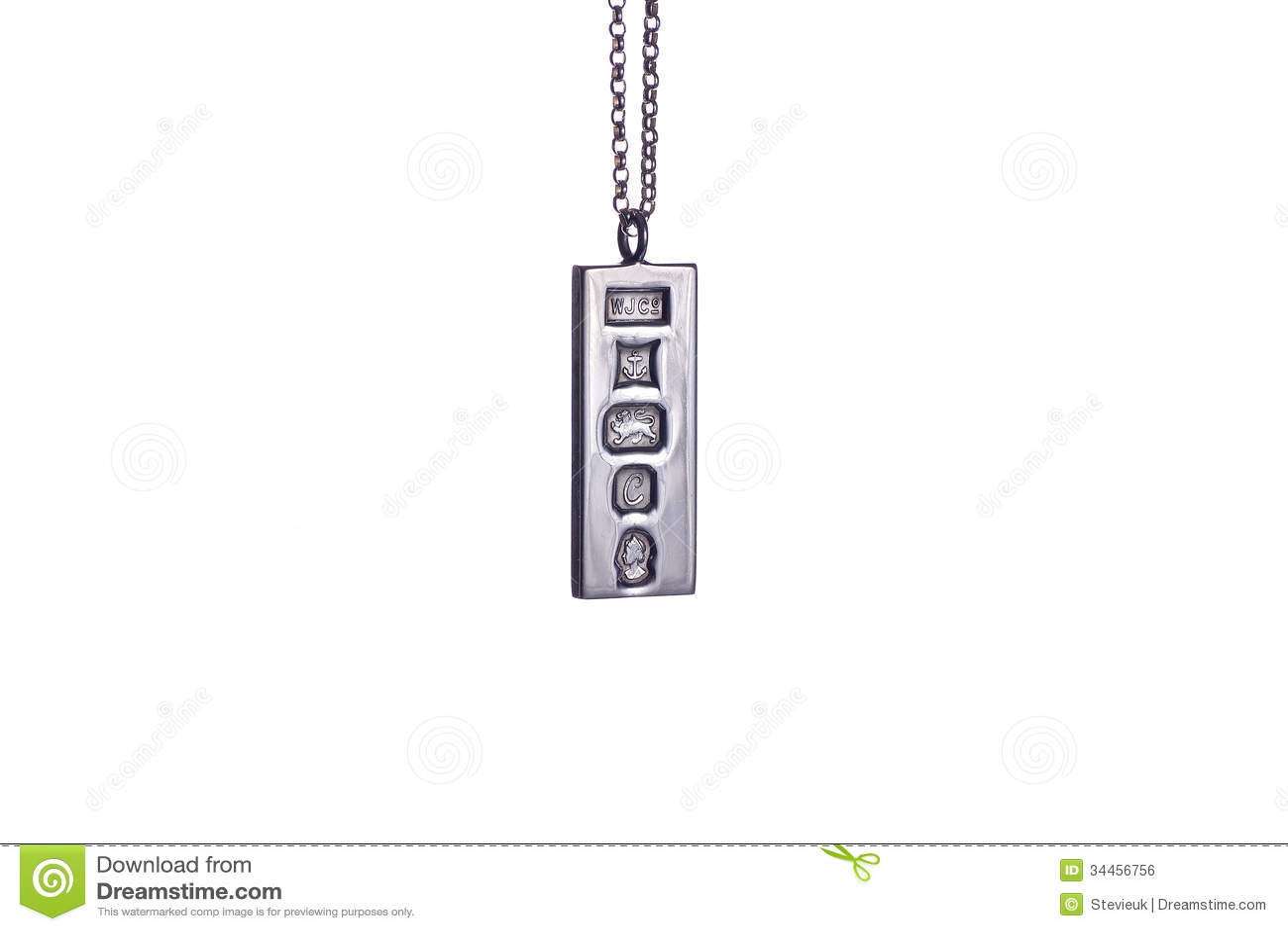 Sterling Silver Ingot Pendant Stock Photo Image Of Sterling